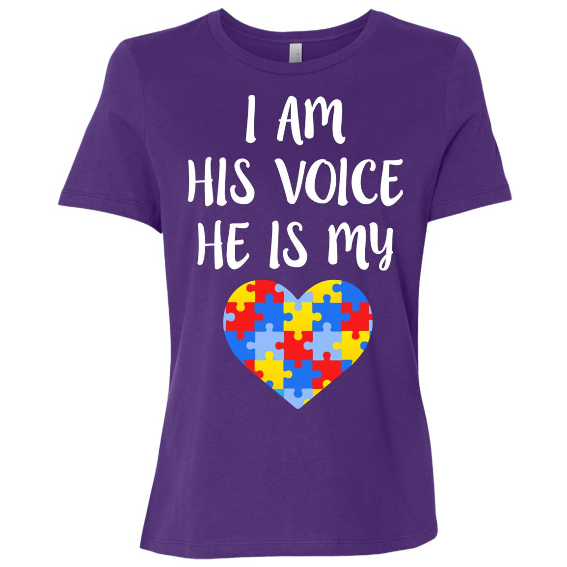 I am his voice he is my heart – Autism awareness mom Women Short Sleeve T-Shirt
