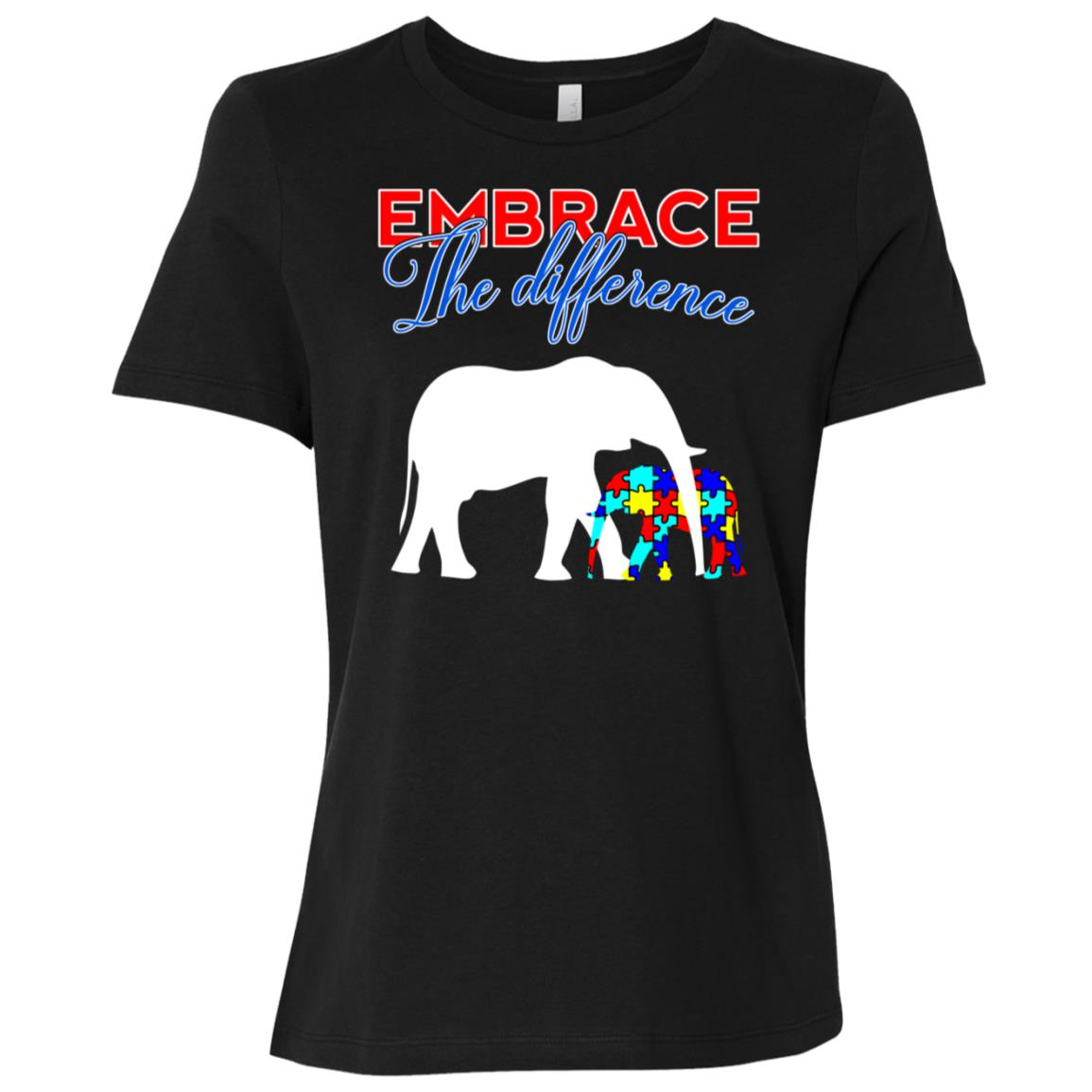 Embrace The Difference Autism Awareness Mom Dad Kids Women Short Sleeve T-Shirt