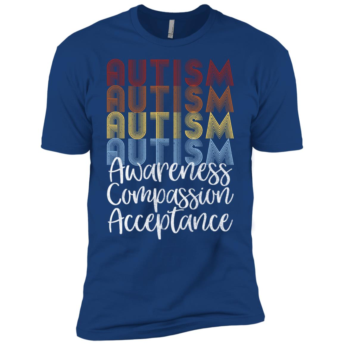 Retro Vintage Autism Awareness with Distressed Text Men Short Sleeve T-Shirt