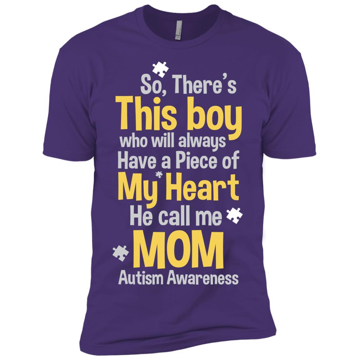 My Heart He call me Mom Autism Awareness Men Short Sleeve T-Shirt