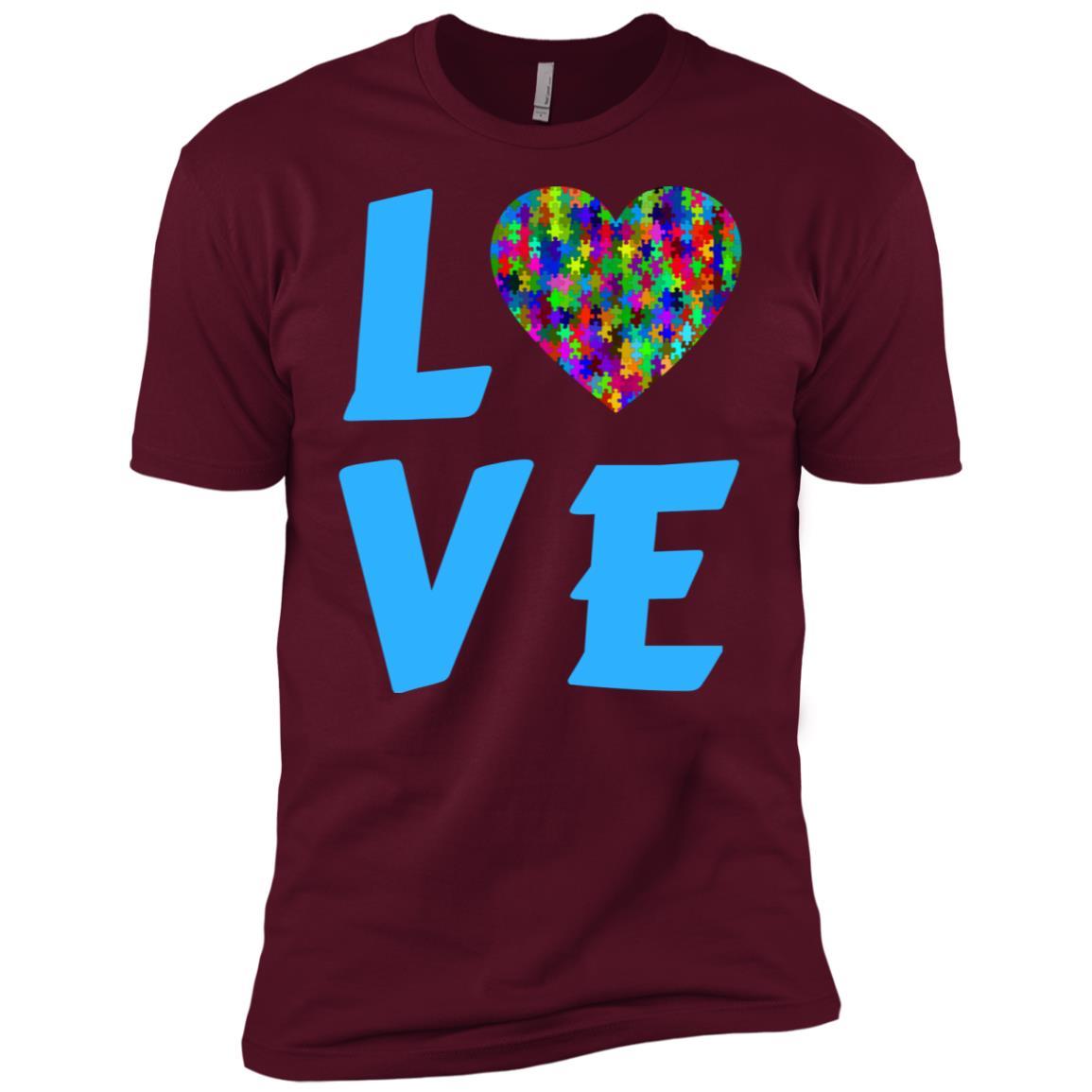 Love Autism Heart Puzzle Autism Awareness Month Blue-1 Men Short Sleeve T-Shirt