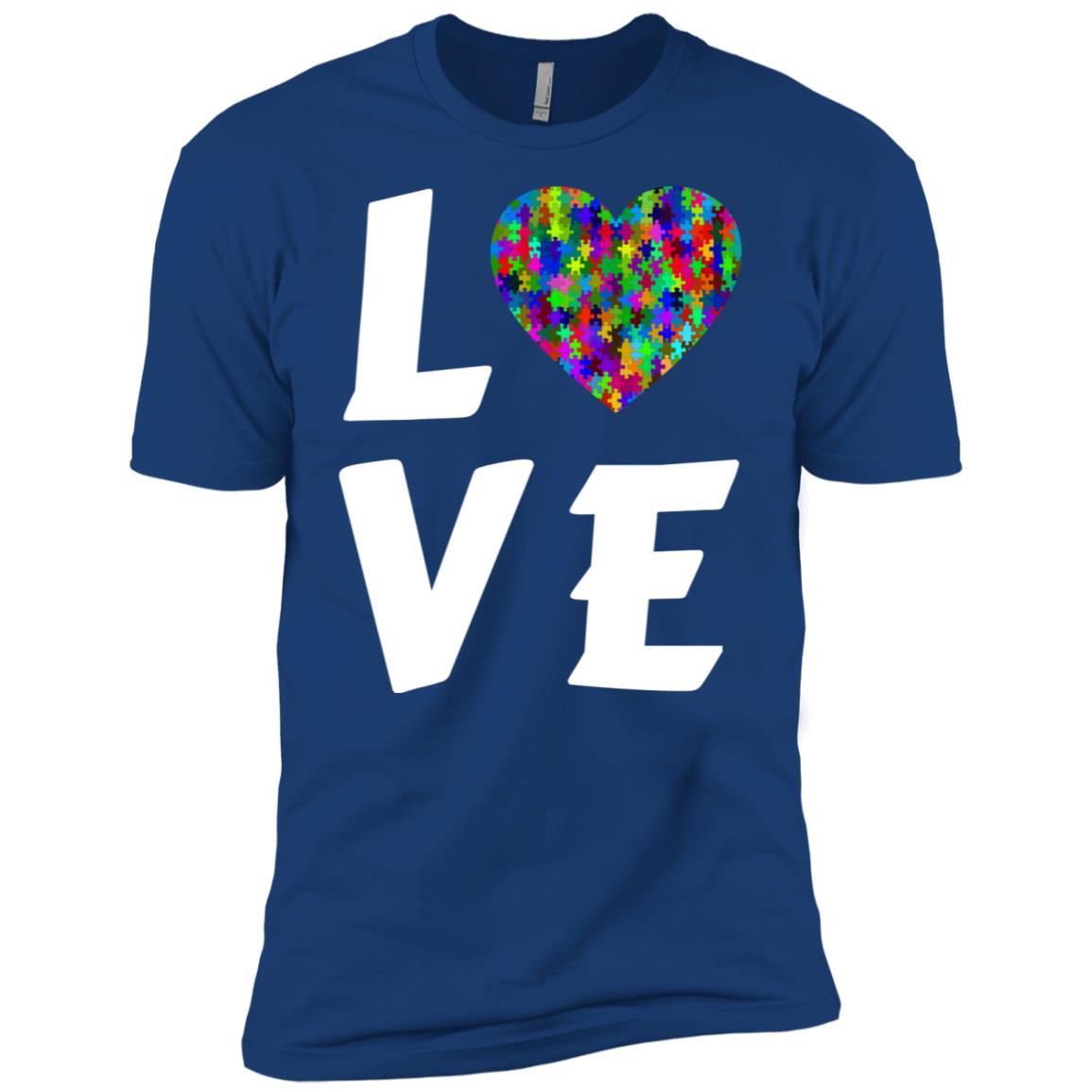 Love Autism Heart Puzzle Autism Awareness Month Blue Men Short Sleeve T-Shirt