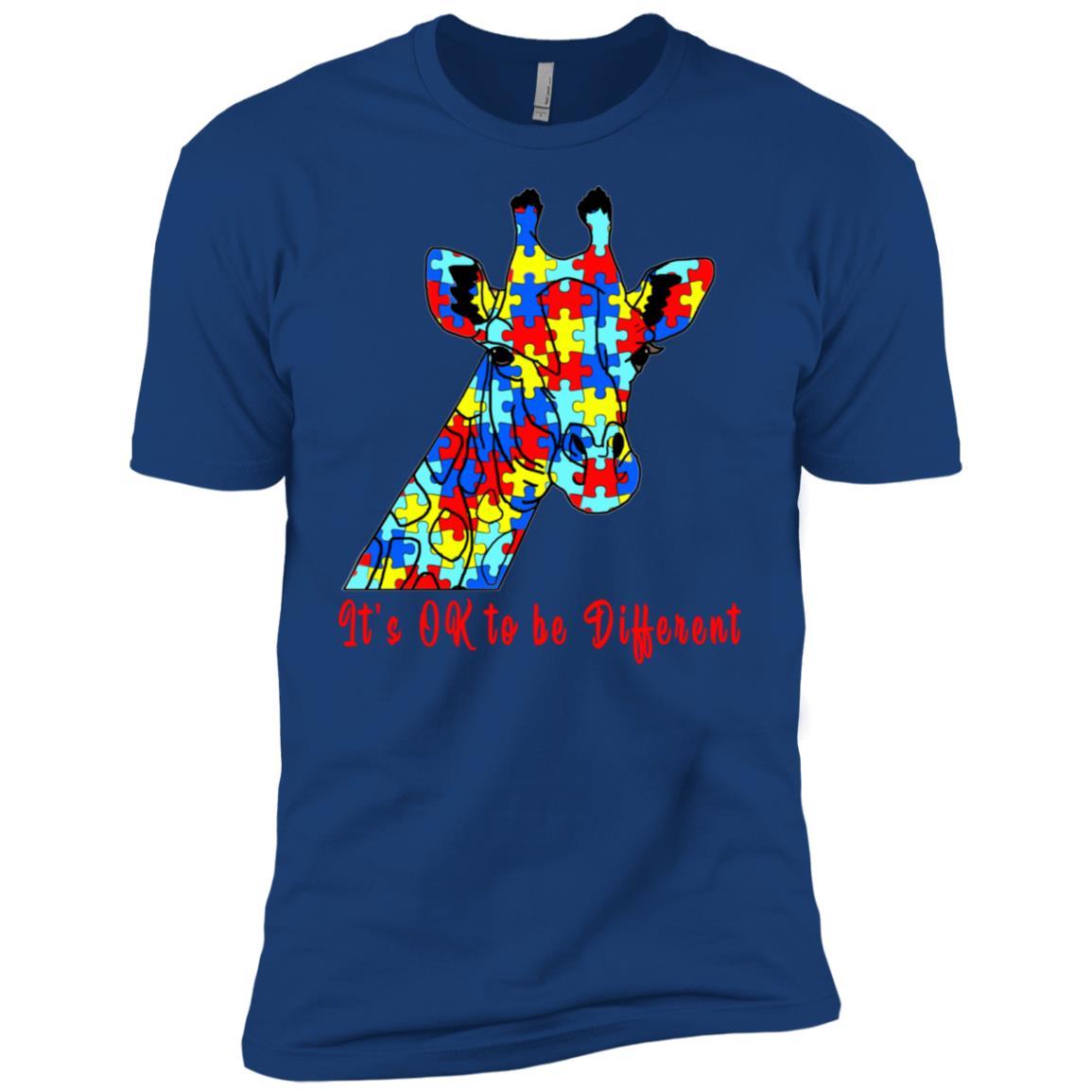 It's Ok To Be Different Autism Awareness Giraffe Kids Men Short Sleeve T-Shirt