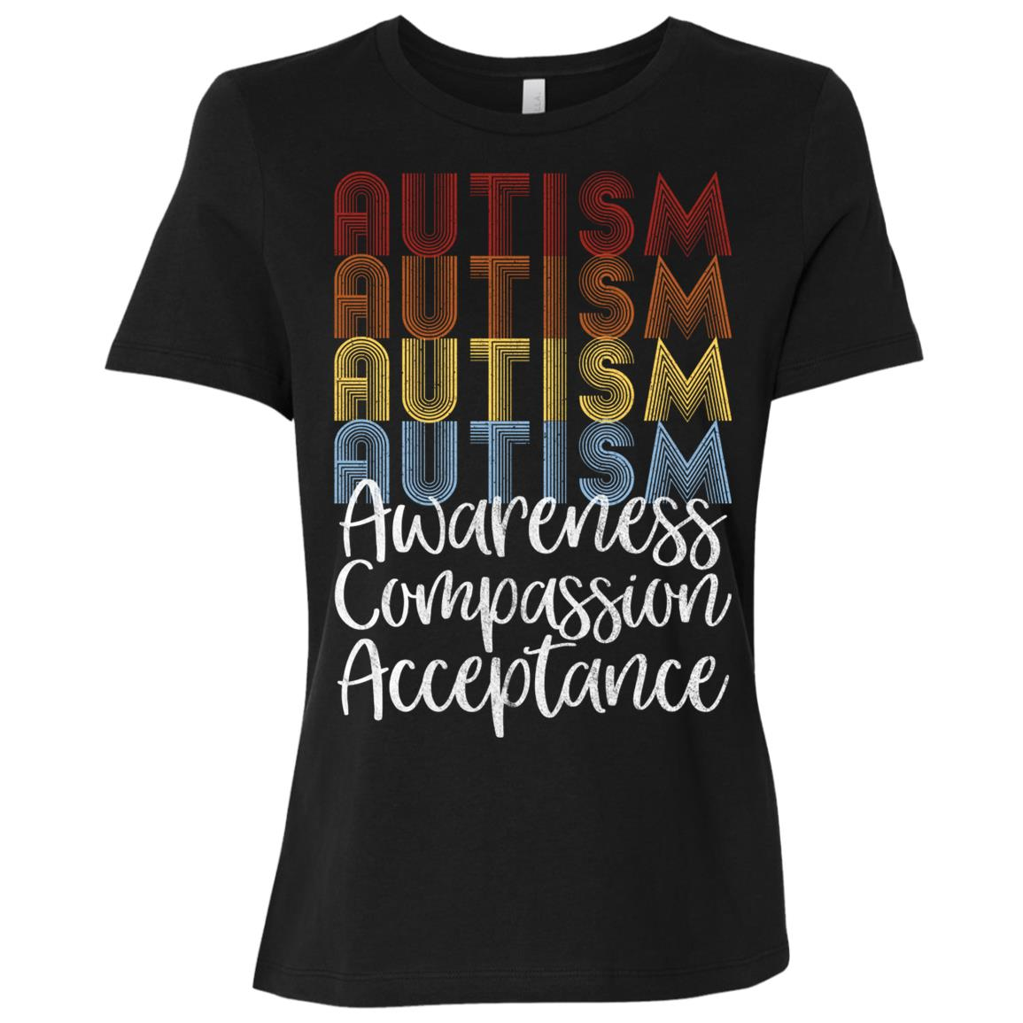 Retro Vintage Autism Awareness with Distressed Text Women Short Sleeve T-Shirt