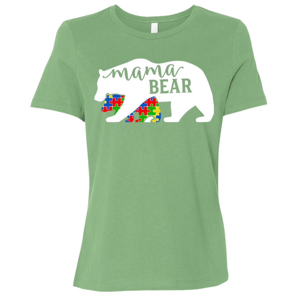Mom Mama Bear Autism Awareness Month Family Support Women Short Sleeve T-Shirt