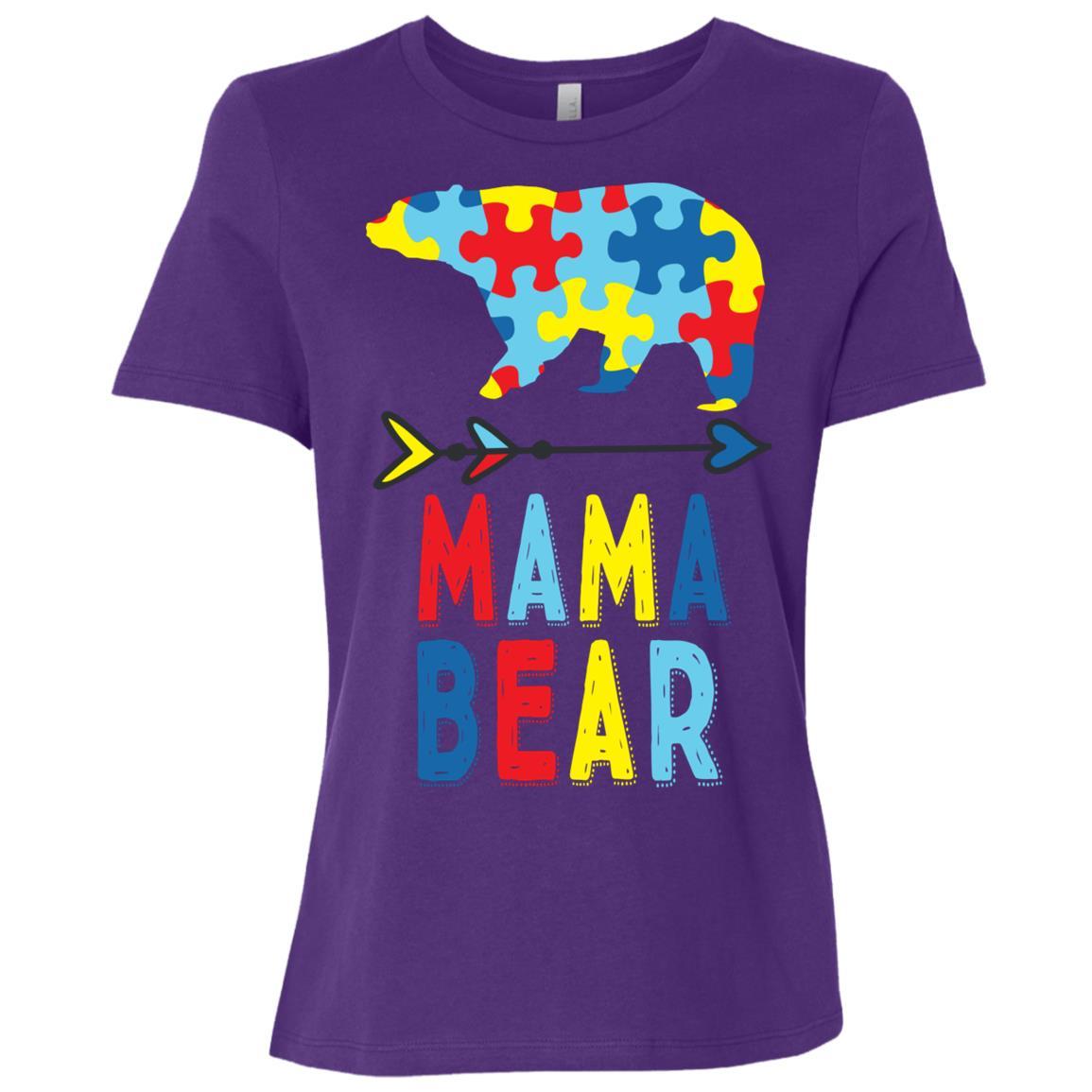 Mama Bear Autism Mom Gift Autism Awareness Women Short Sleeve T-Shirt