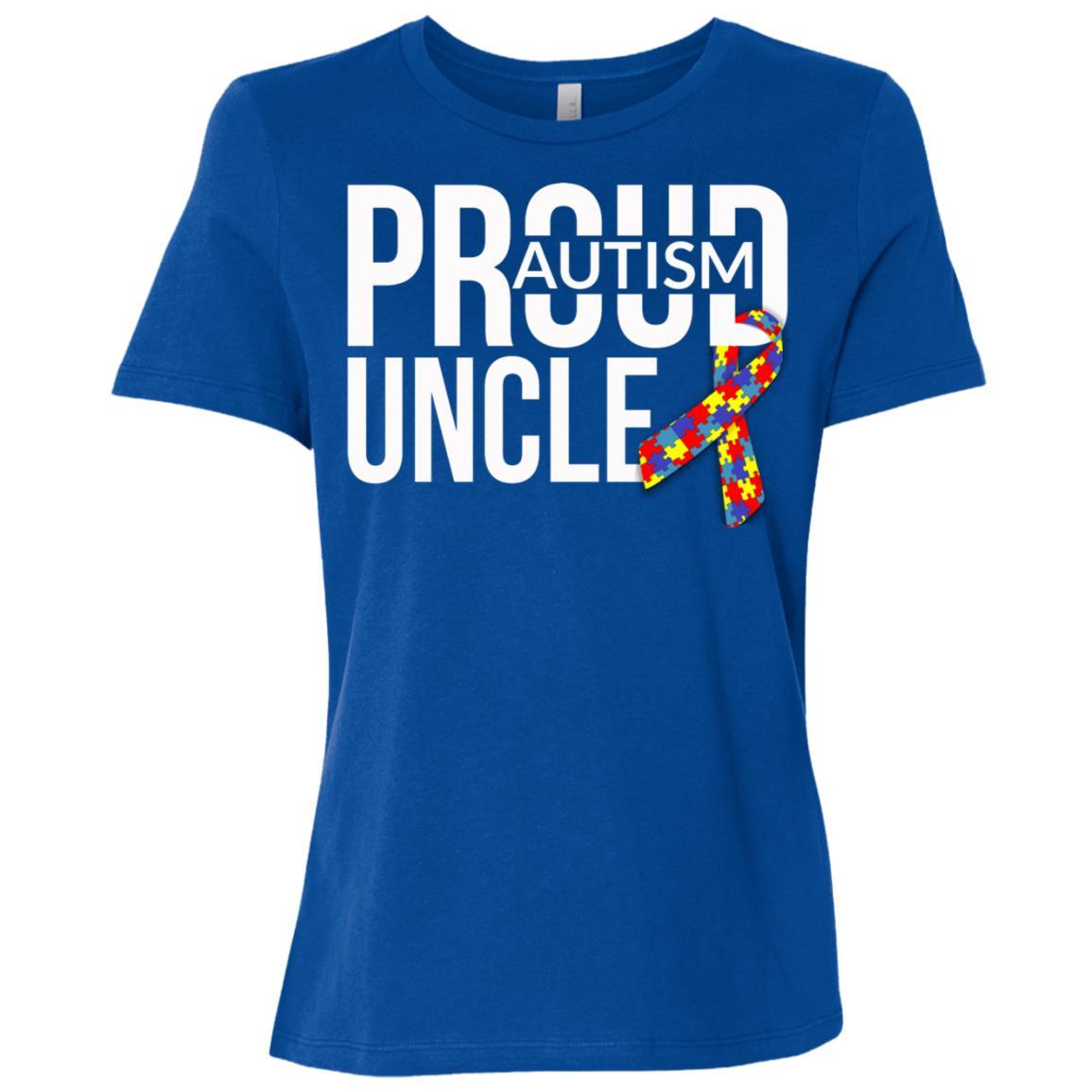 Mens Mens Proud Autism Uncle Autism Awareness Women Short Sleeve T-Shirt