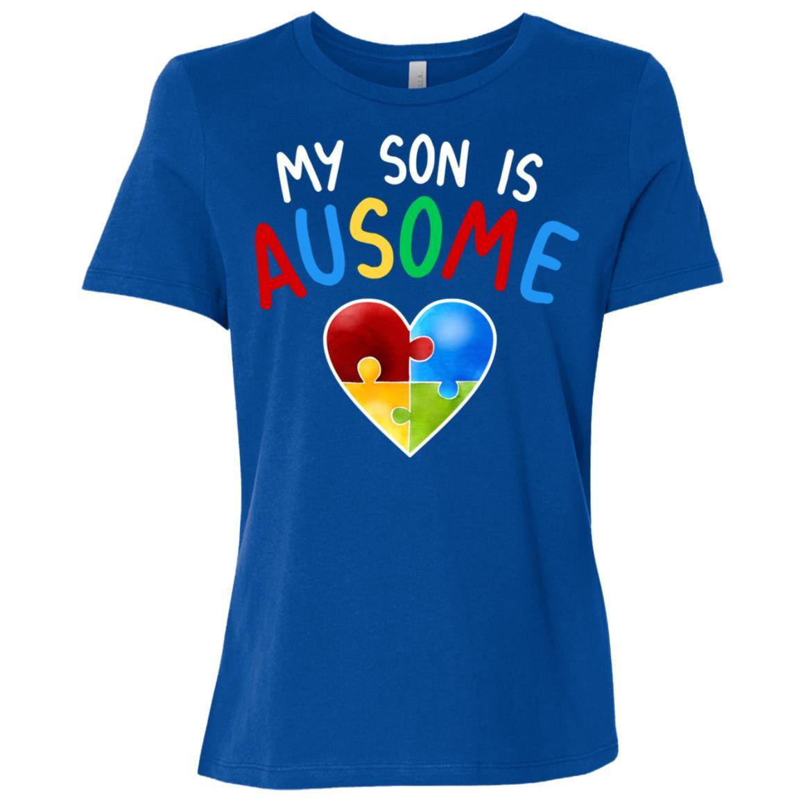 Love My Autistic Son Autism Awareness Women Short Sleeve T-Shirt