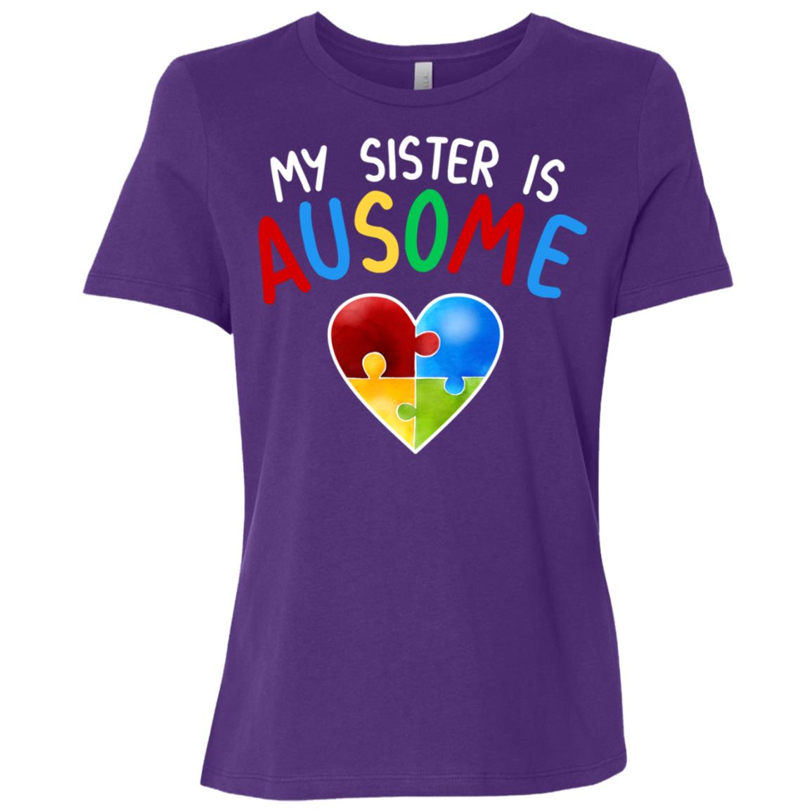 Love My Autistic Sister Autism Awareness Women Short Sleeve T-Shirt