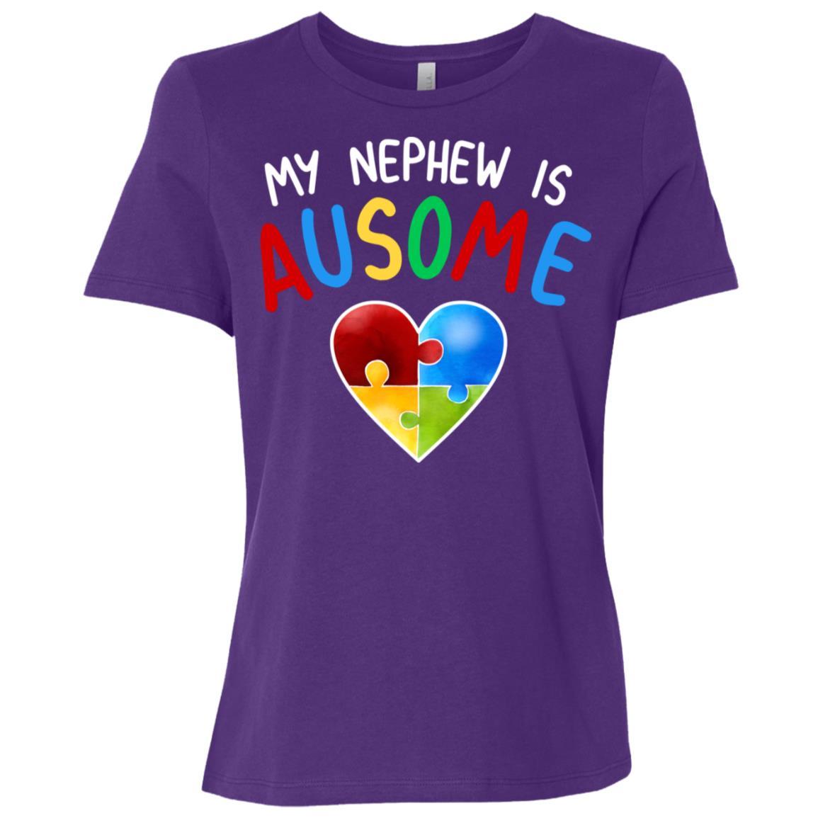 Love My Autistic Nephew Autism Awareness Women Short Sleeve T-Shirt