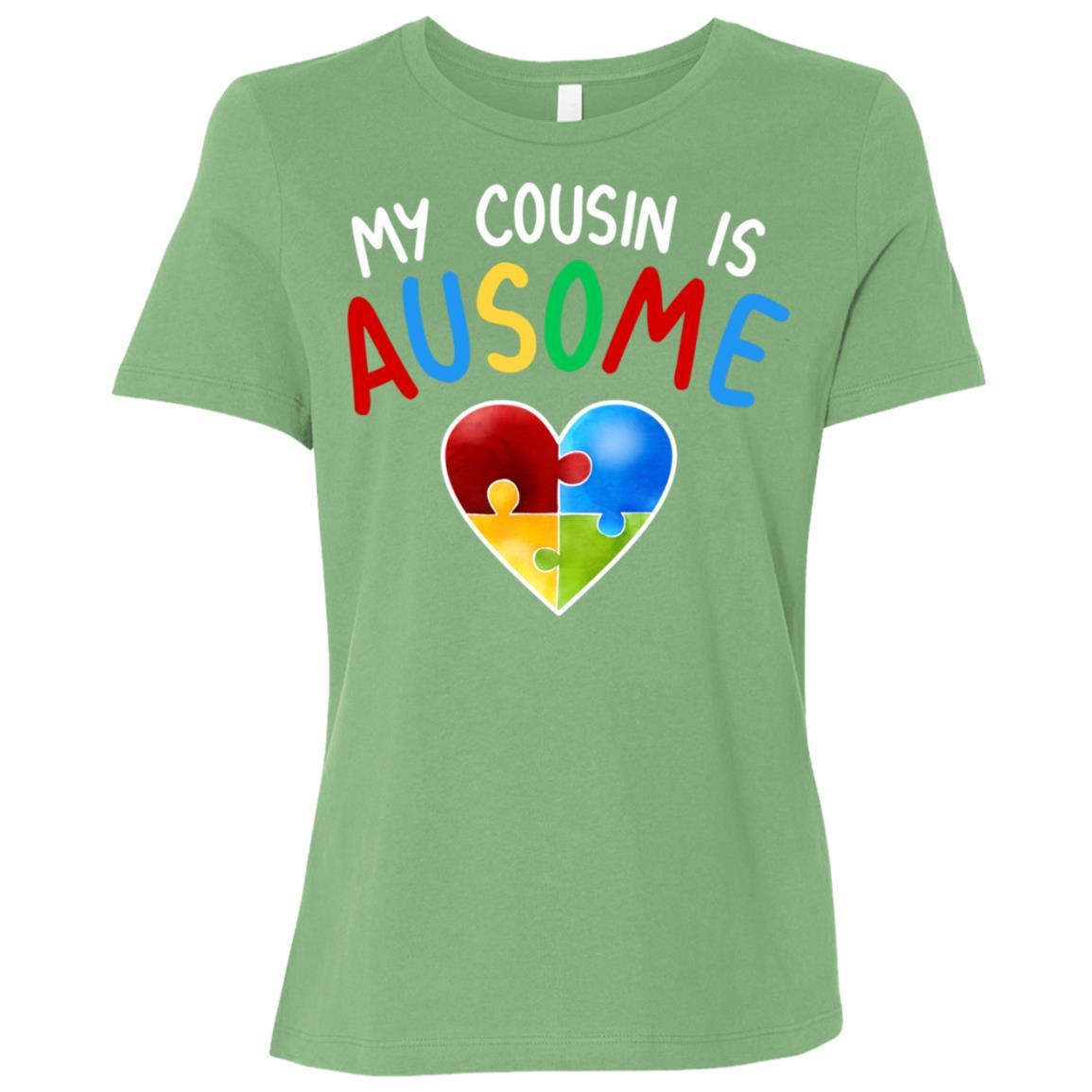 Love My Autistic Cousin Autism Awareness Women Short Sleeve T-Shirt