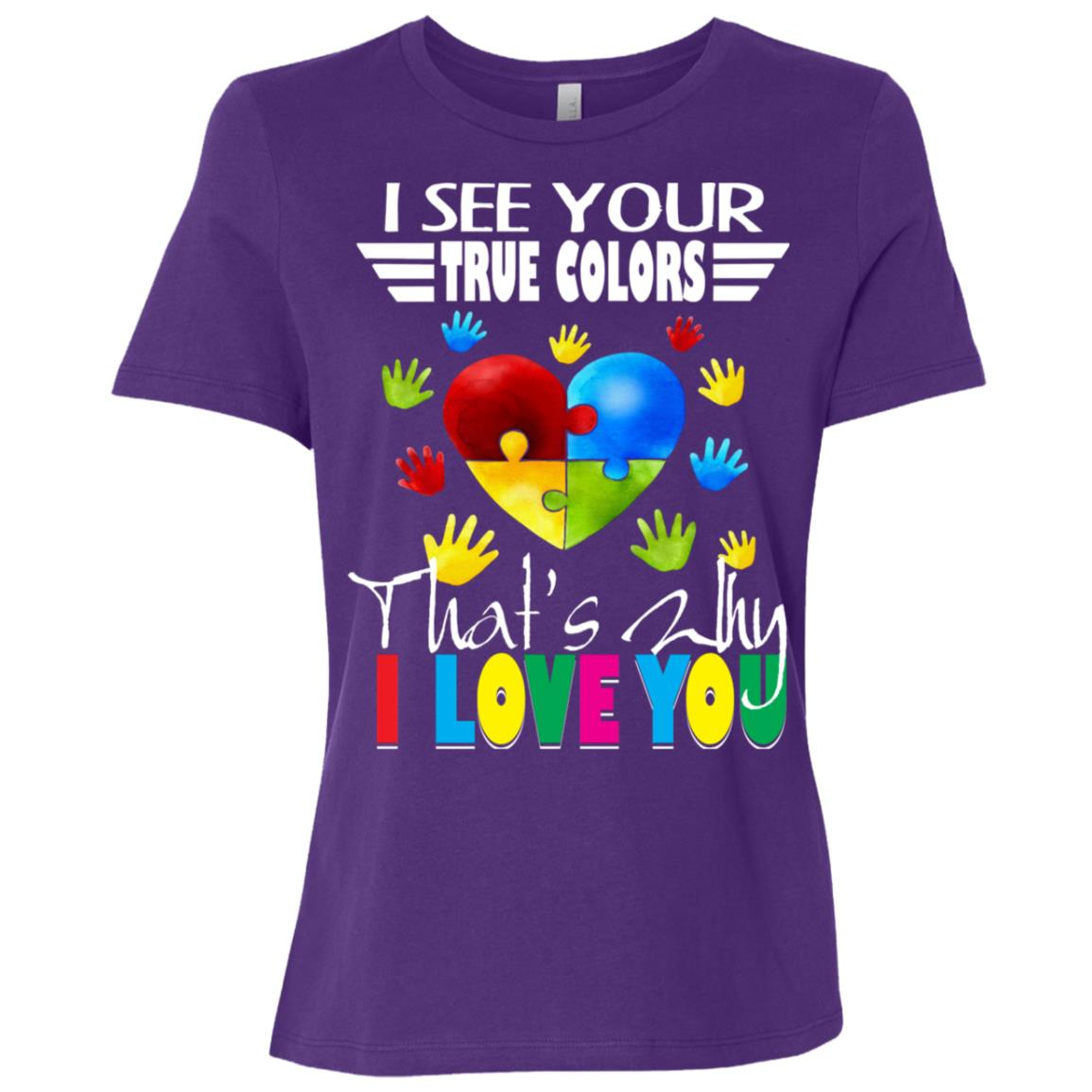 Super Autism See Your True Colors Kids Women Short Sleeve T-Shirt