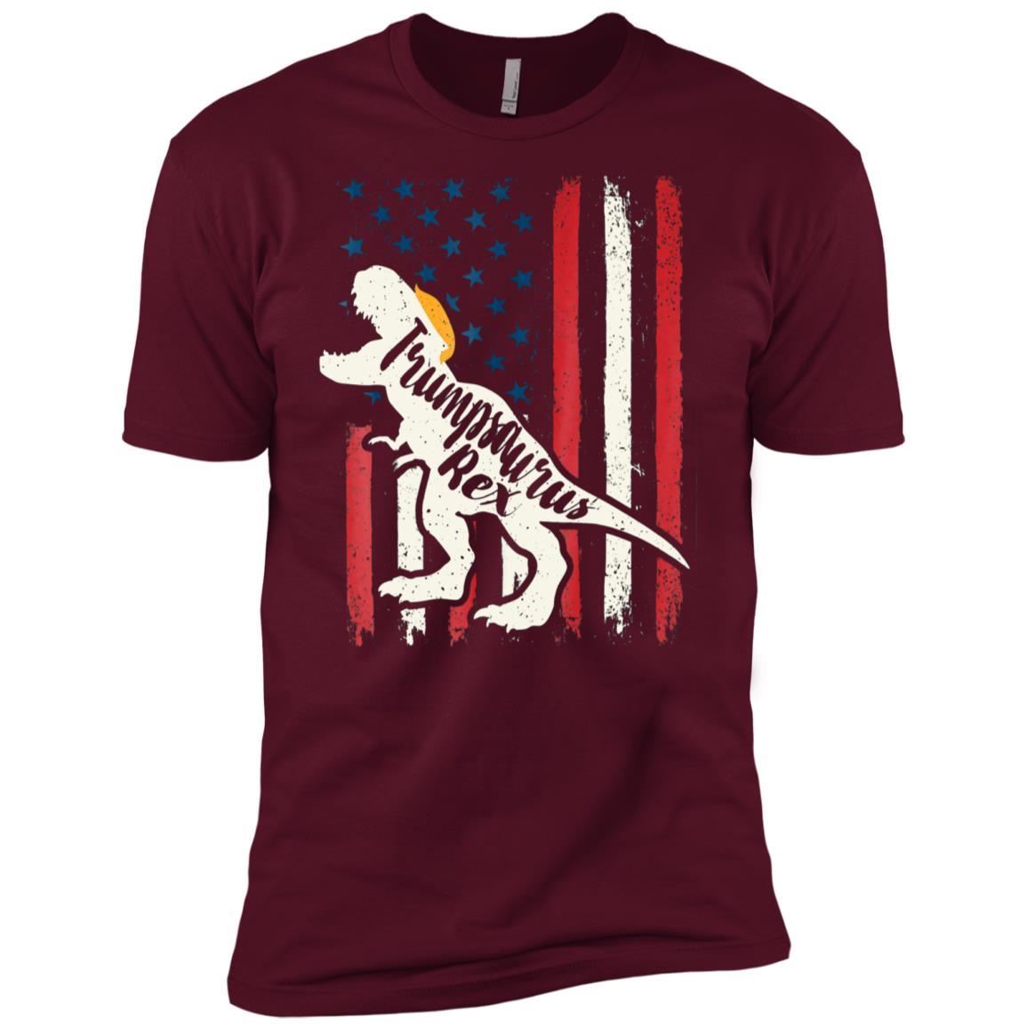 Trumpsaurus Rex Stand With Trump 4th July America Flag Men Short Sleeve T-Shirt