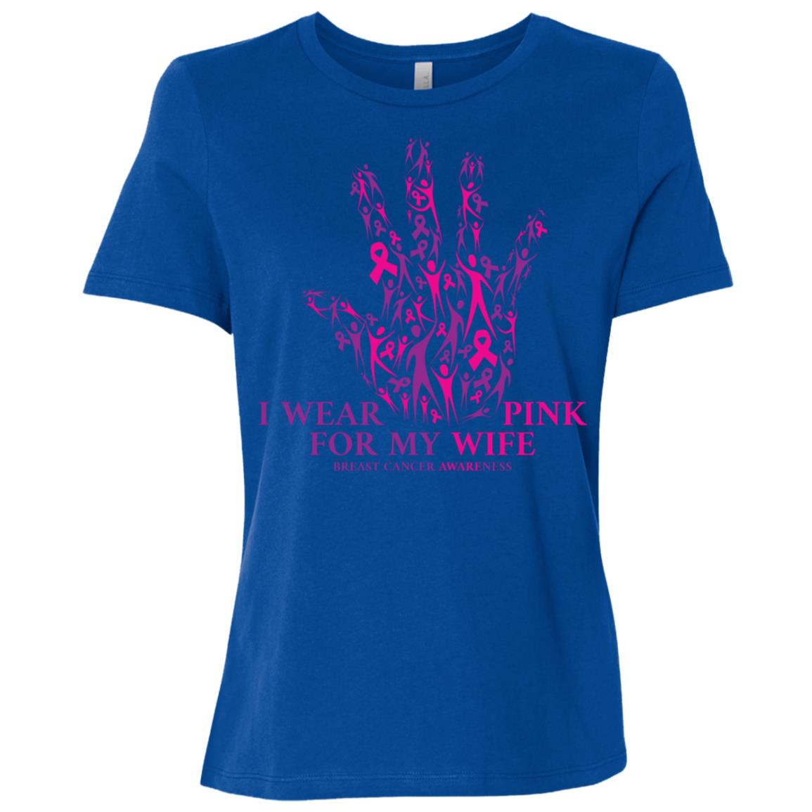 I Wear Pink For My Wife Breast Cancer Awareness Women Short Sleeve T-Shirt