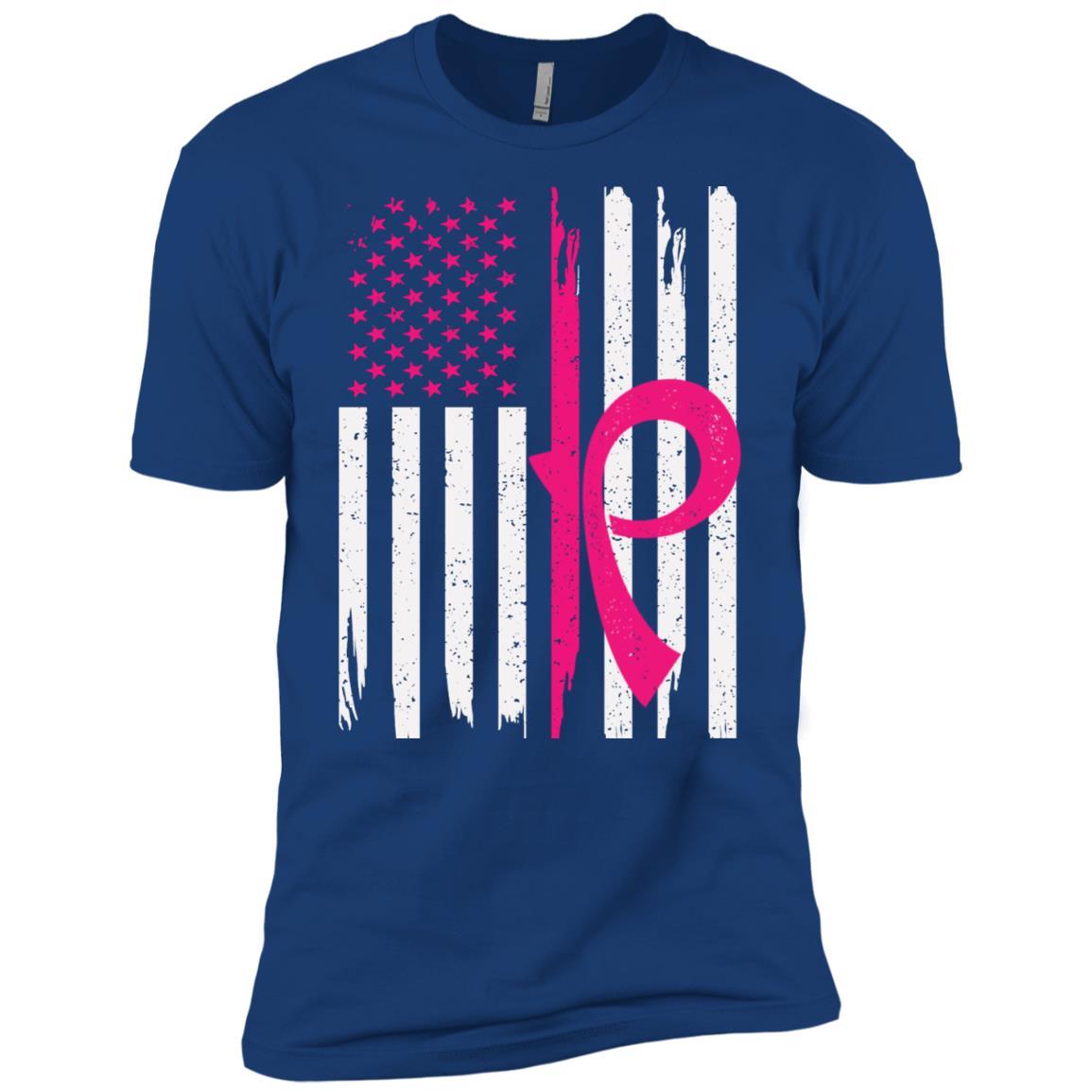 Men's American Flag Breast Cancer Awareness-2 Men Short Sleeve T-Shirt