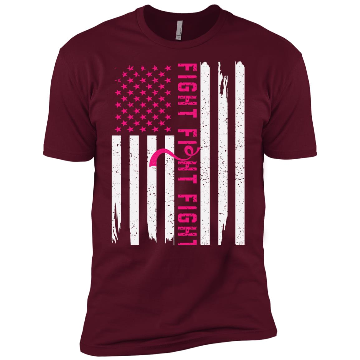 Men's American Flag Breast Cancer Awareness-1 Men Short Sleeve T-Shirt