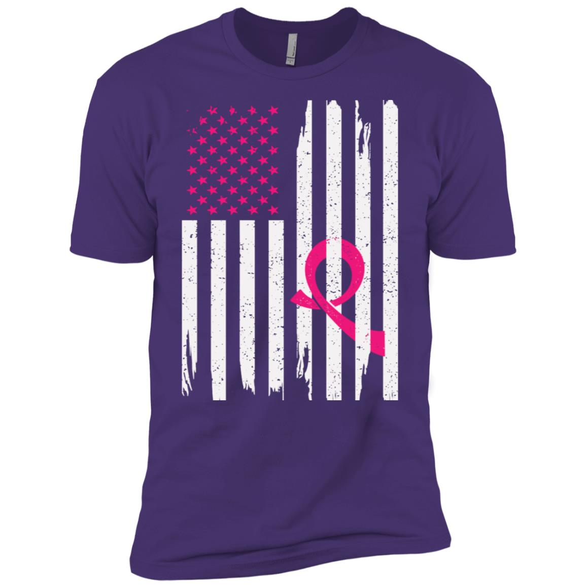 Men's American Flag Breast Cancer Awareness Men Short Sleeve T-Shirt