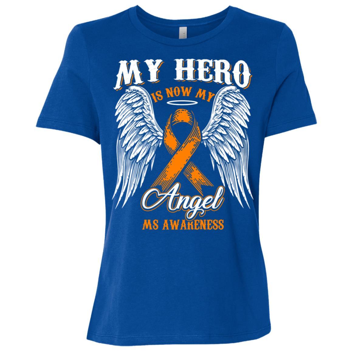 My Hero Is Now My Angel Ms Awareness Women Short Sleeve T-Shirt