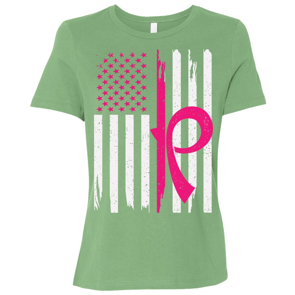 Men's American Flag Breast Cancer Awareness-2 Women Short Sleeve T-Shirt