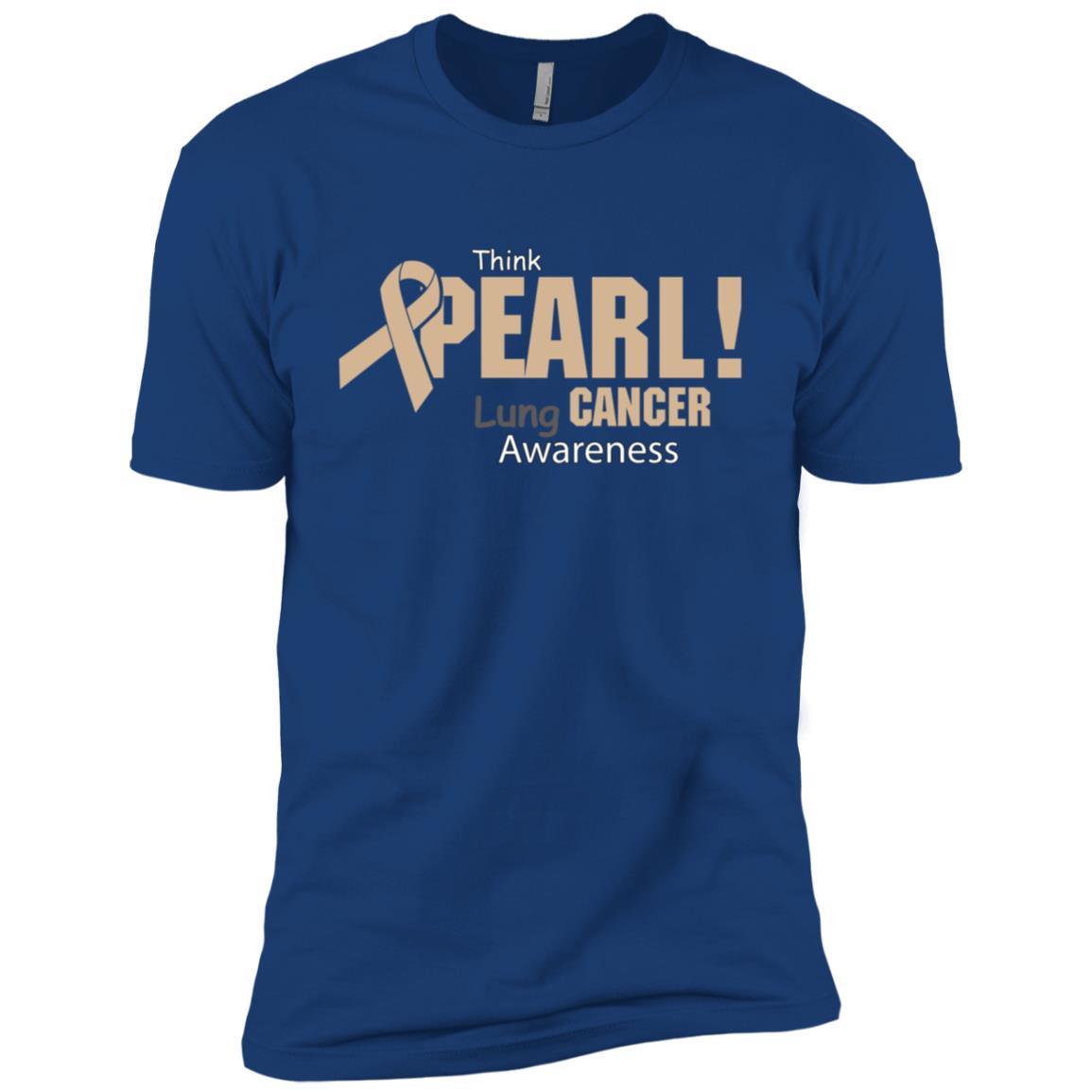 Think Pearl Lung Cancer Awareness Sweater Men Short Sleeve T-Shirt