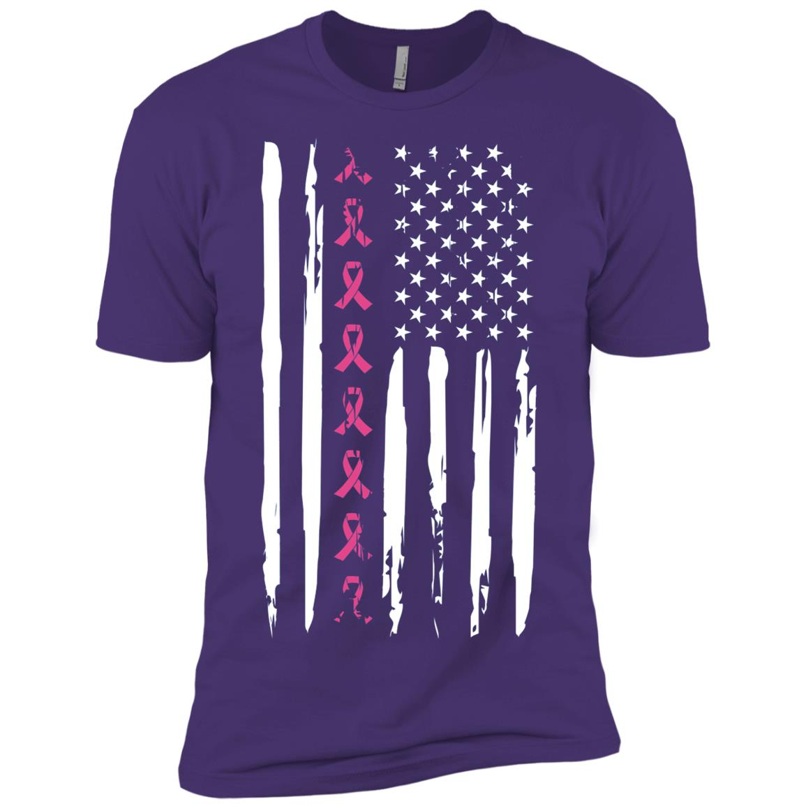 Pink Ribbon American Flag Breast Cancer Men Short Sleeve T-Shirt