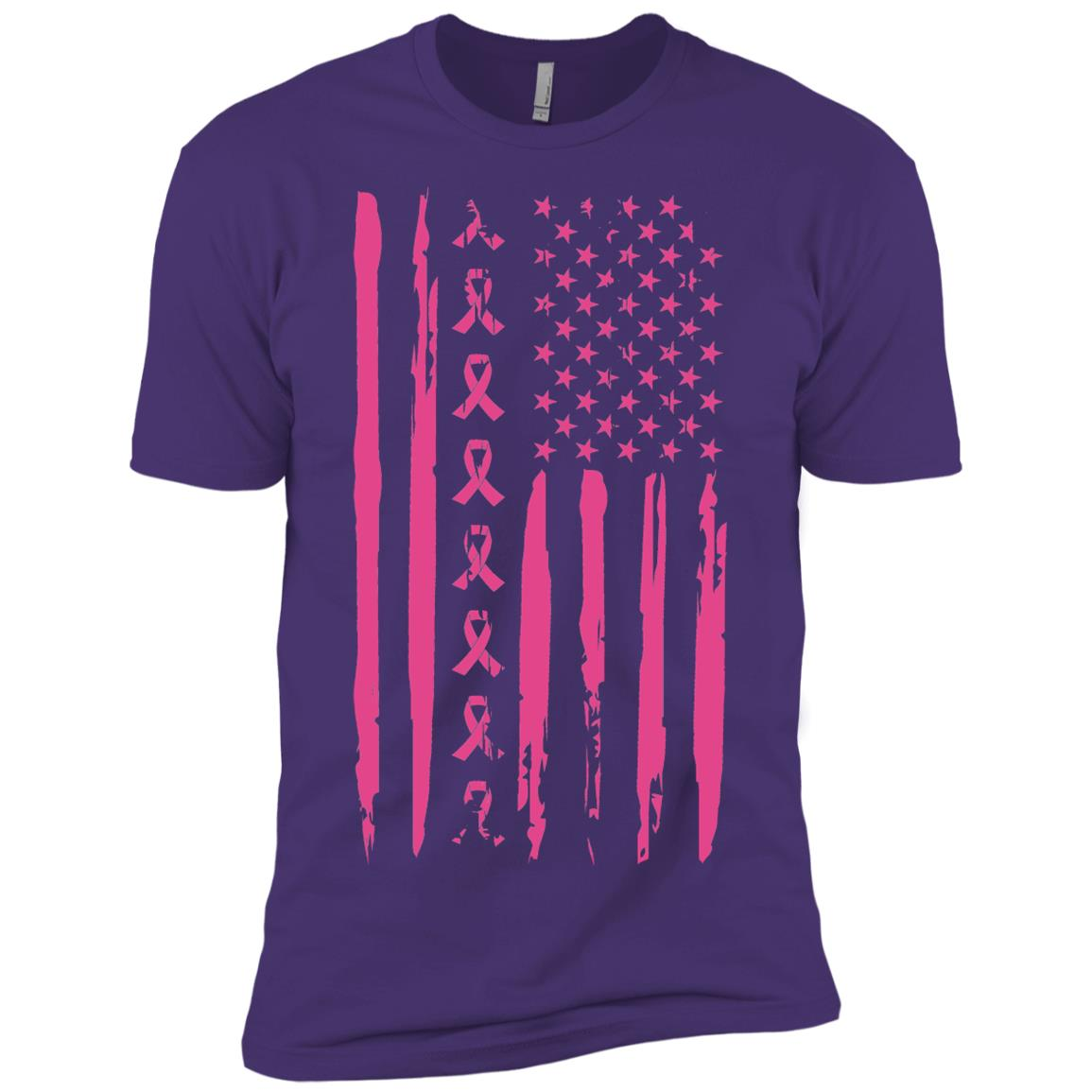 Pink Ribbon American Flag Breast Cancer-1 Men Short Sleeve T-Shirt