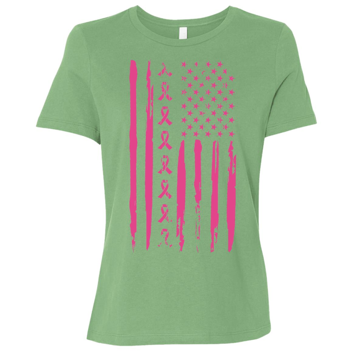 Pink Ribbon American Flag Breast Cancer-1 Women Short Sleeve T-Shirt
