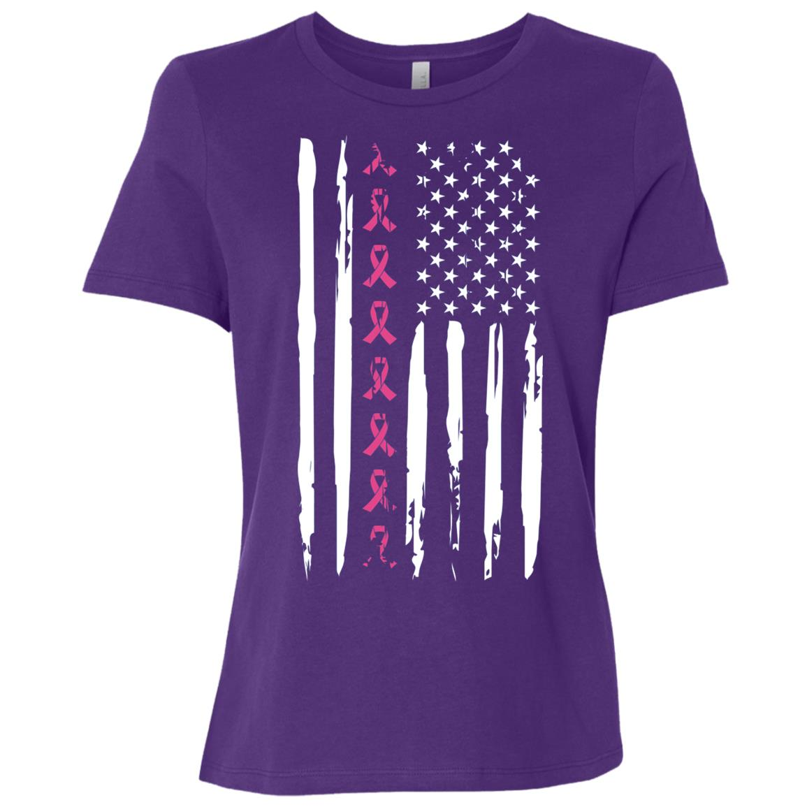 Pink Ribbon American Flag Breast Cancer Women Short Sleeve T-Shirt
