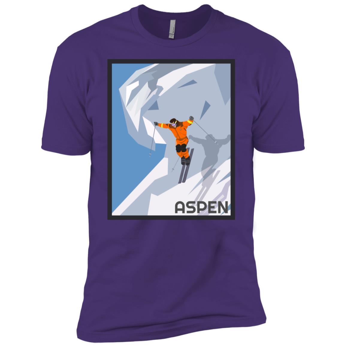 Aspen Colorado Vintage Skiing Poster Men Short Sleeve T-Shirt