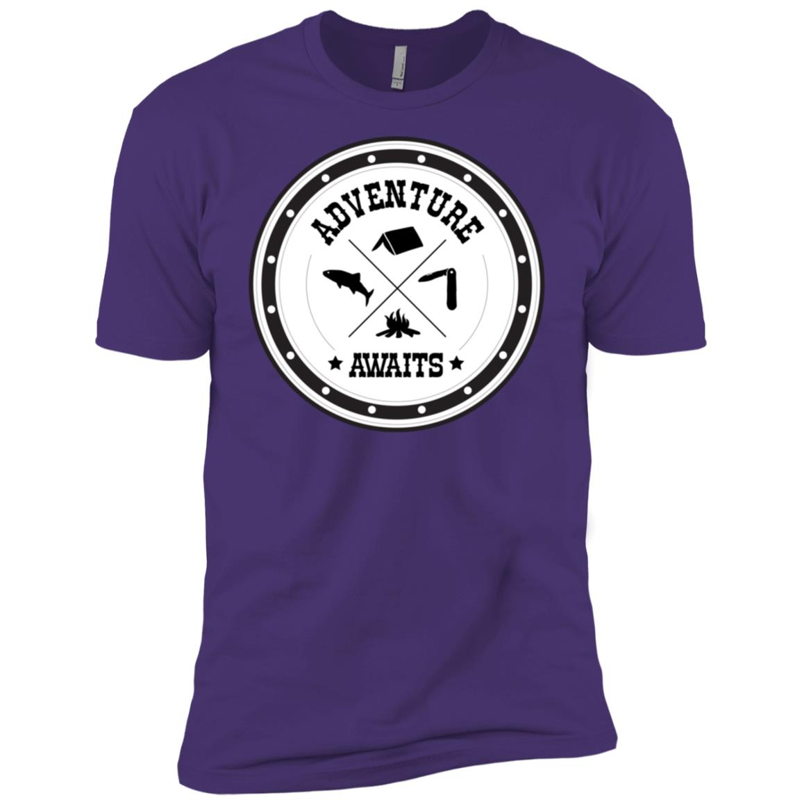 Adventure Awaits Funny Cool Hiking Camping Gift Men Short Sleeve T-Shirt