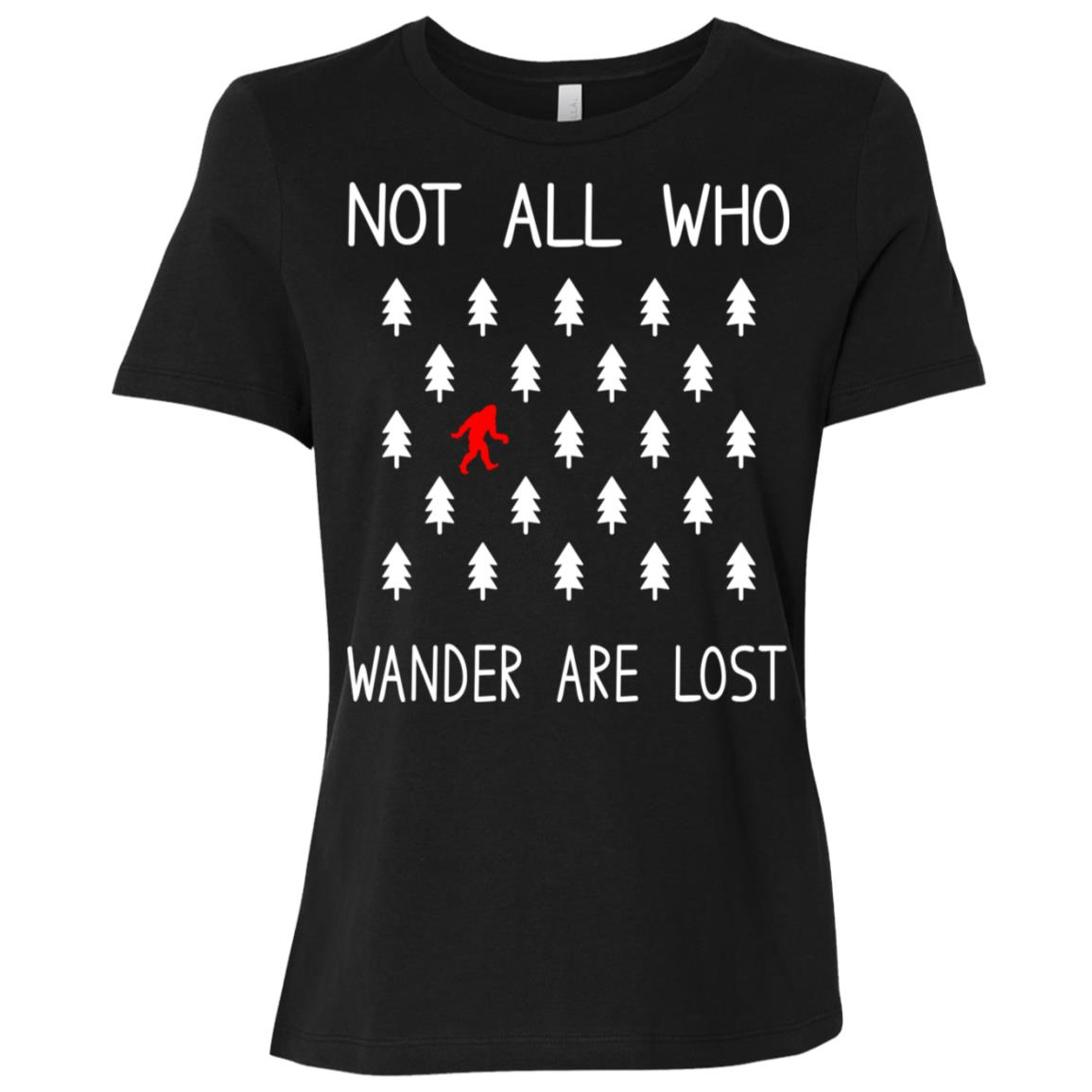 Bigfoot Not All Who Wander Are Lost Funny Gift Women Short Sleeve T-Shirt