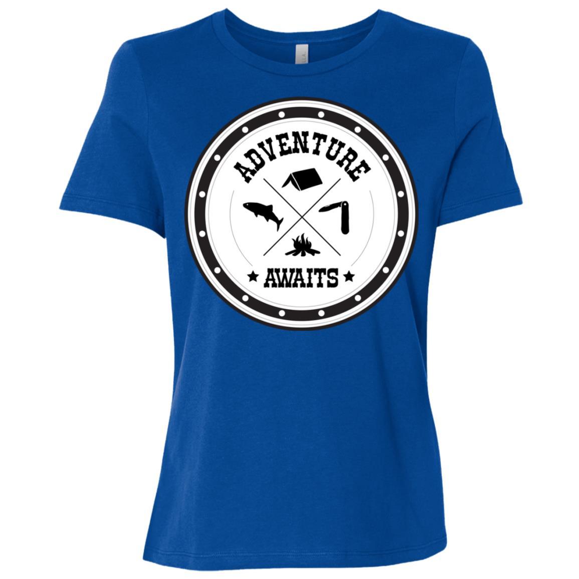 Adventure Awaits Funny Cool Hiking Camping Gift Women Short Sleeve T-Shirt