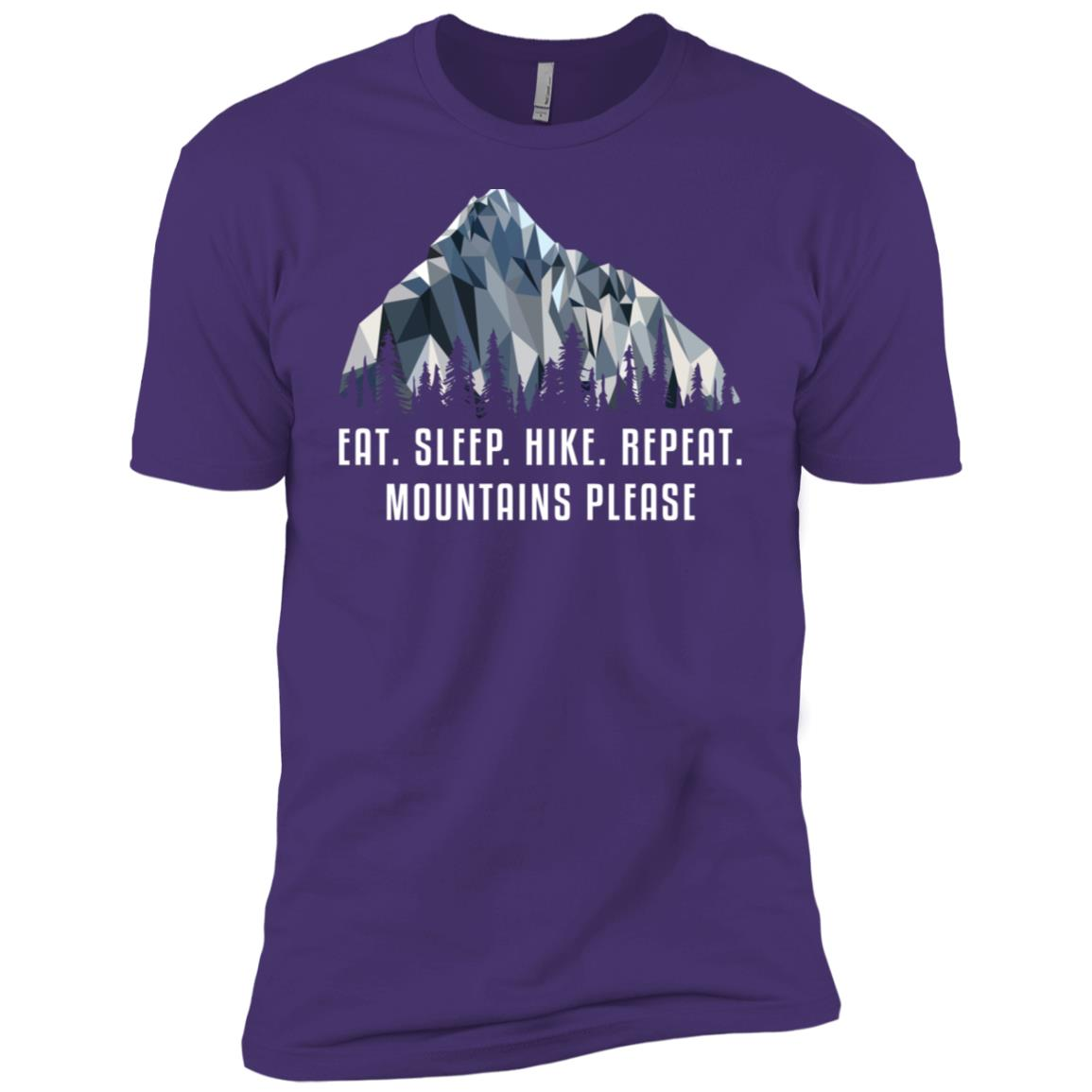 Funny Hiking Eat Sleep Hike Low Poly Gift Men Short Sleeve T-Shirt