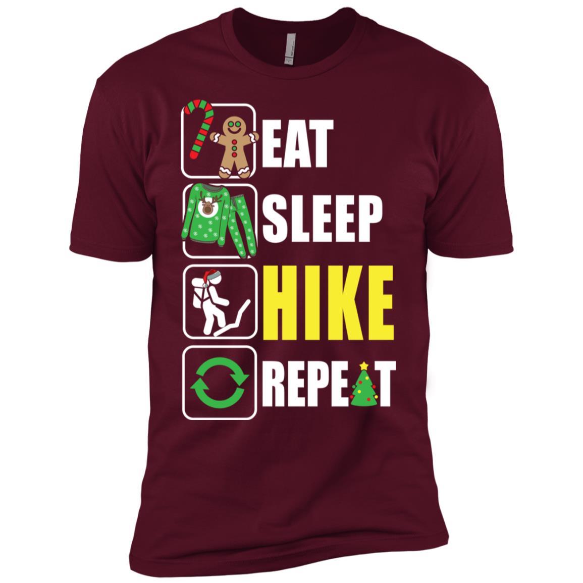 Eat Sleep Hiking Repeat Hiker Xmas Gift Men Short Sleeve T-Shirt