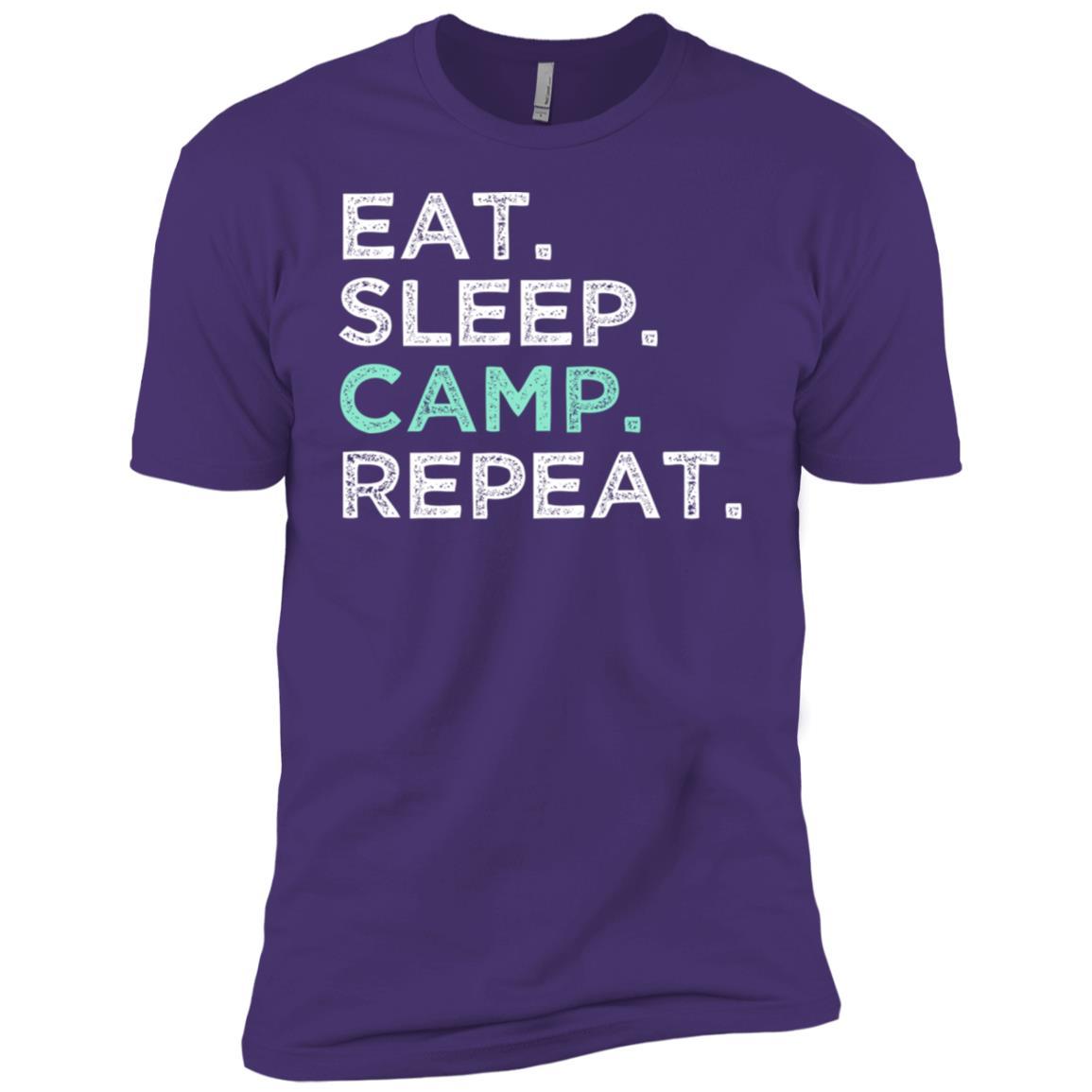 Eat Sleep Camp Repeat Premium. Camping Men Short Sleeve T-Shirt