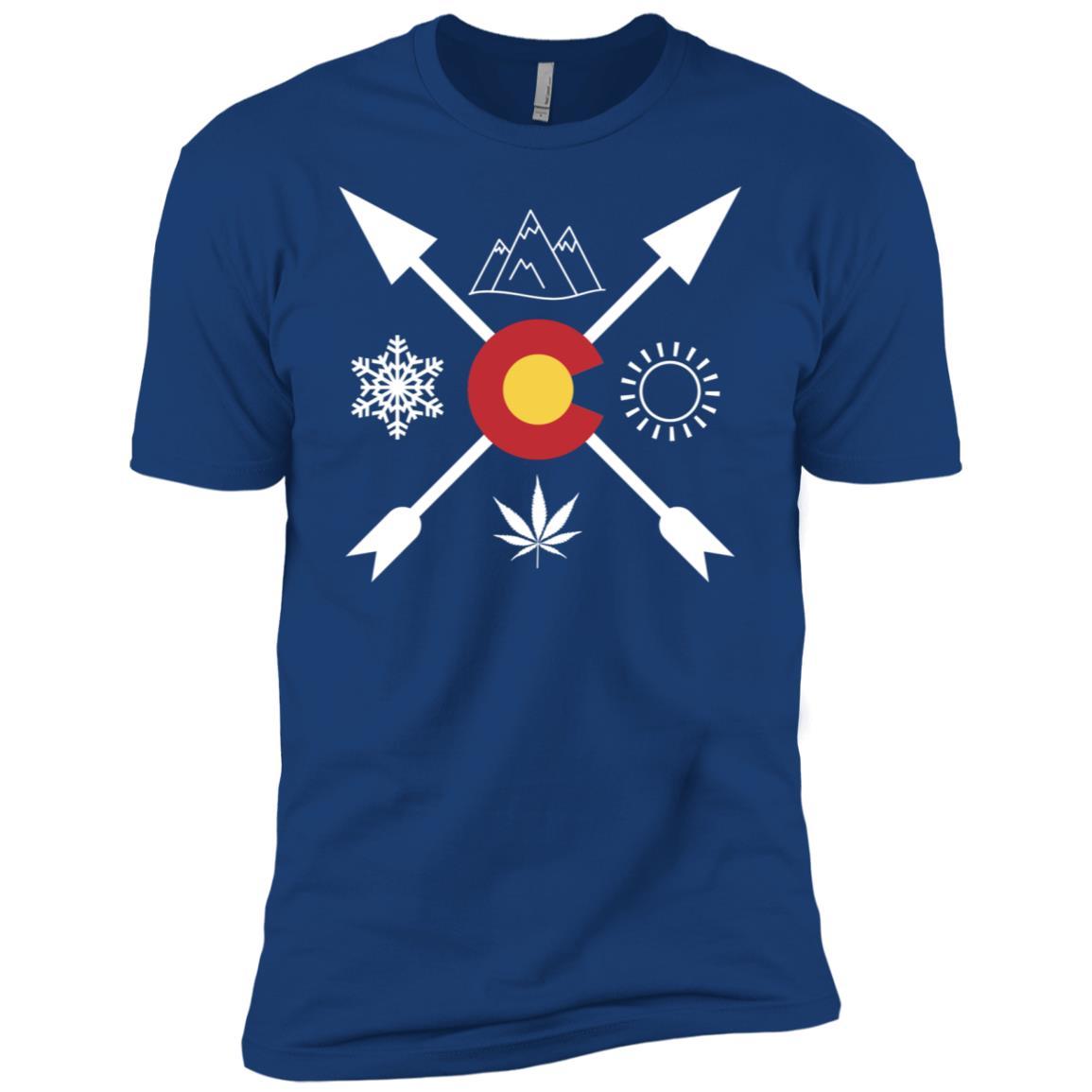 Denver, Colorado Marijuana Leaf Directional Tee Men Short Sleeve T-Shirt