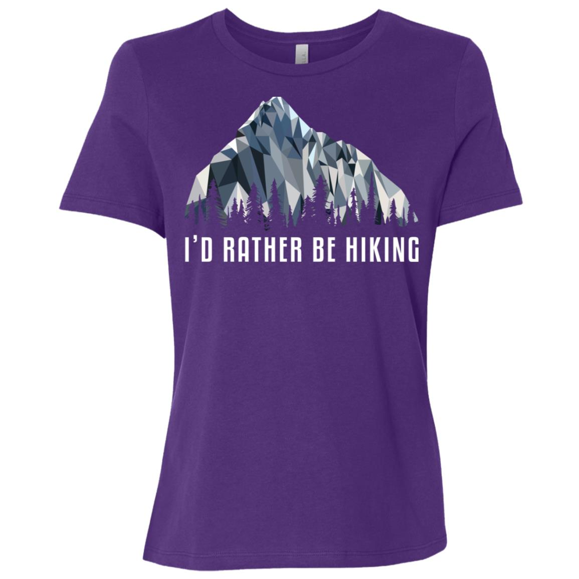 Funny Hiking Id Rather Be Low Poly Gift Women Short Sleeve T-Shirt
