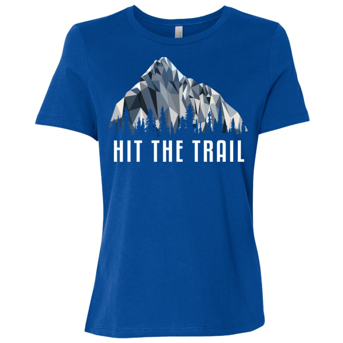 Funny Hiking Hit The Trail Low Poly Gift Women Short Sleeve T-Shirt
