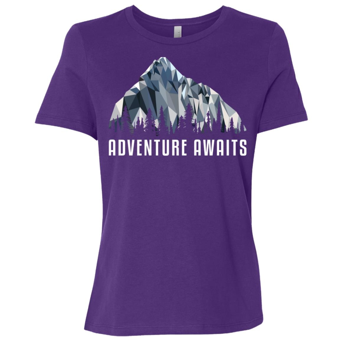 Funny Hiking Adventure Awaits Low Poly Gift Women Short Sleeve T-Shirt