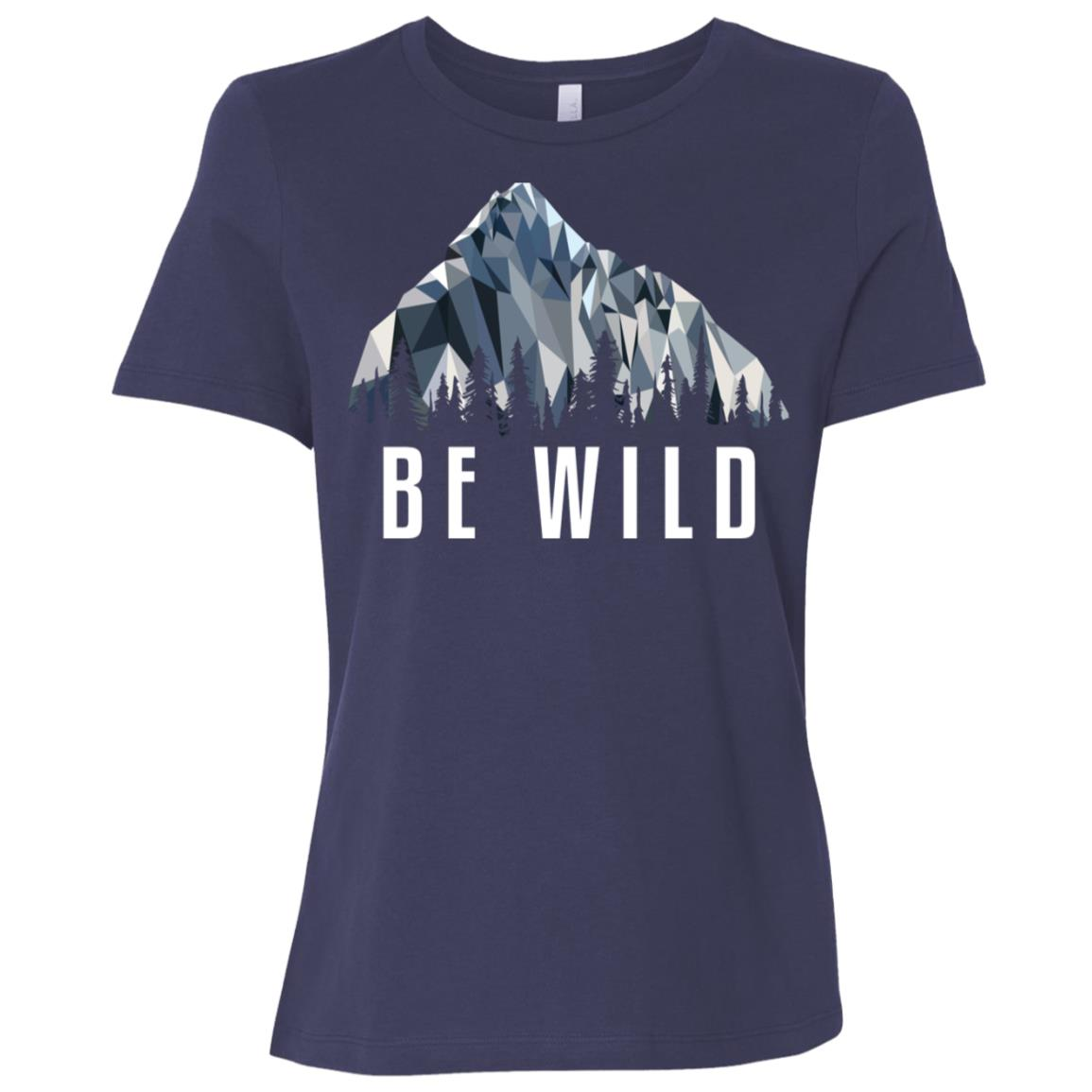 Funny Hiking Be Wild Low Poly Gift Women Short Sleeve T-Shirt