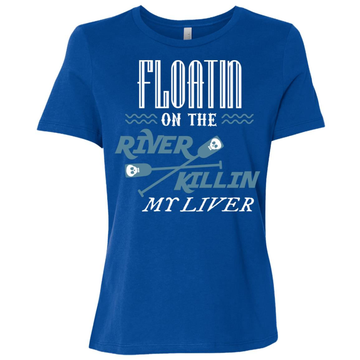 Floating On The River Killing My Liver Funny Beer Women Short Sleeve T-Shirt