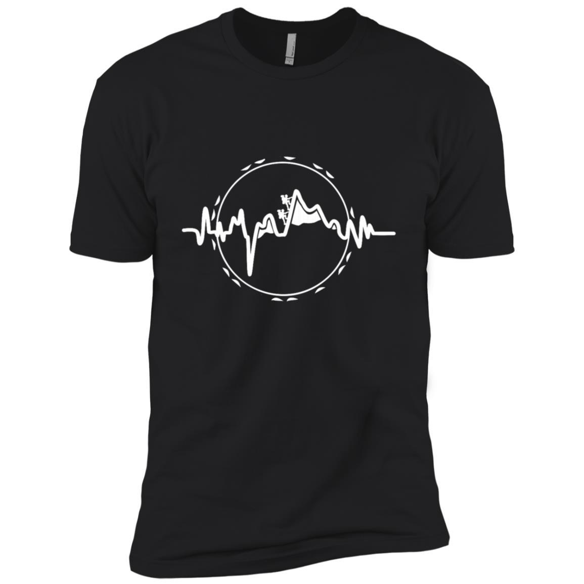 Heartbeat Hiking Mountain Cool Hiking Camping Men Short Sleeve T-Shirt