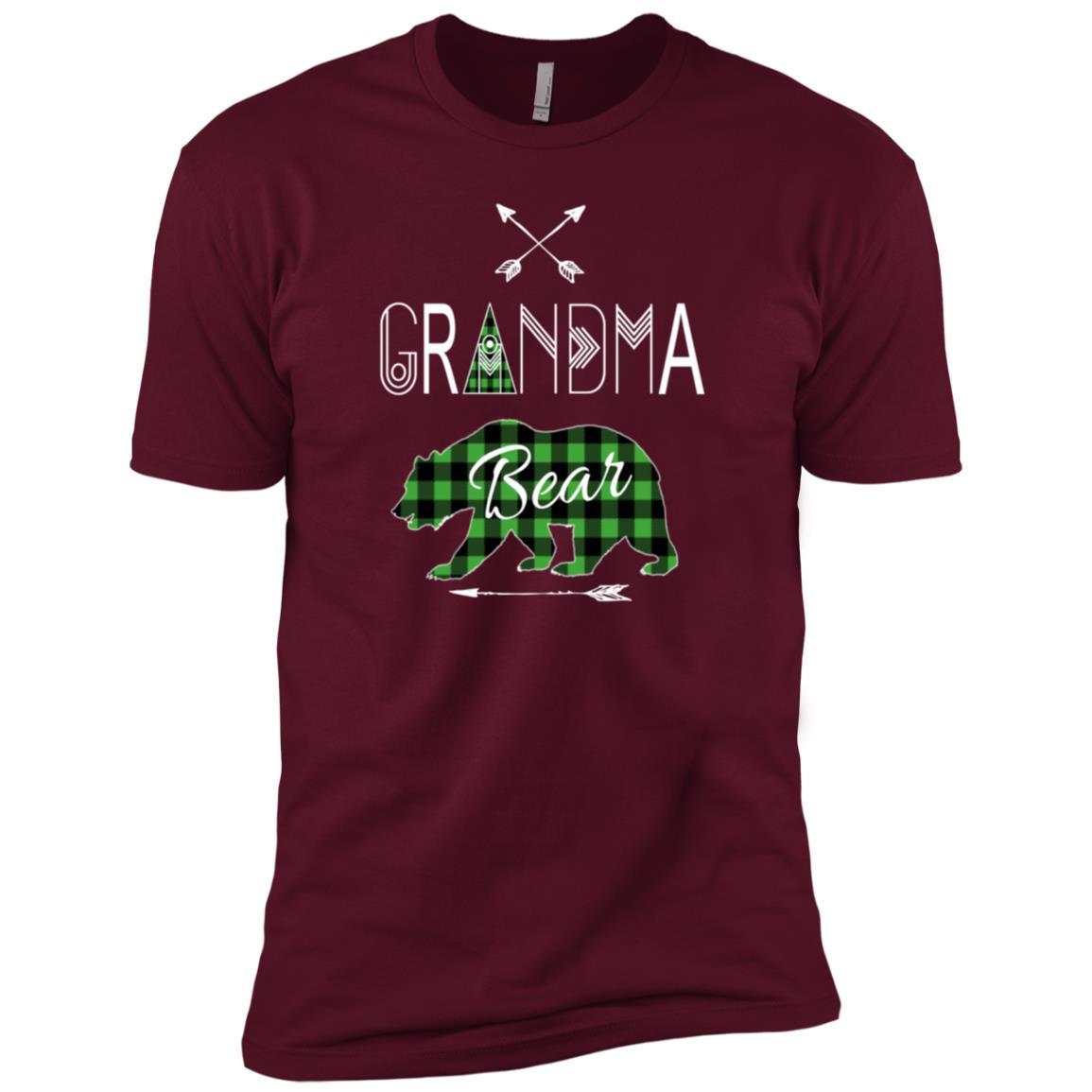 Grandma Bear Green Buffalo Plaid Camping Men Short Sleeve T-Shirt