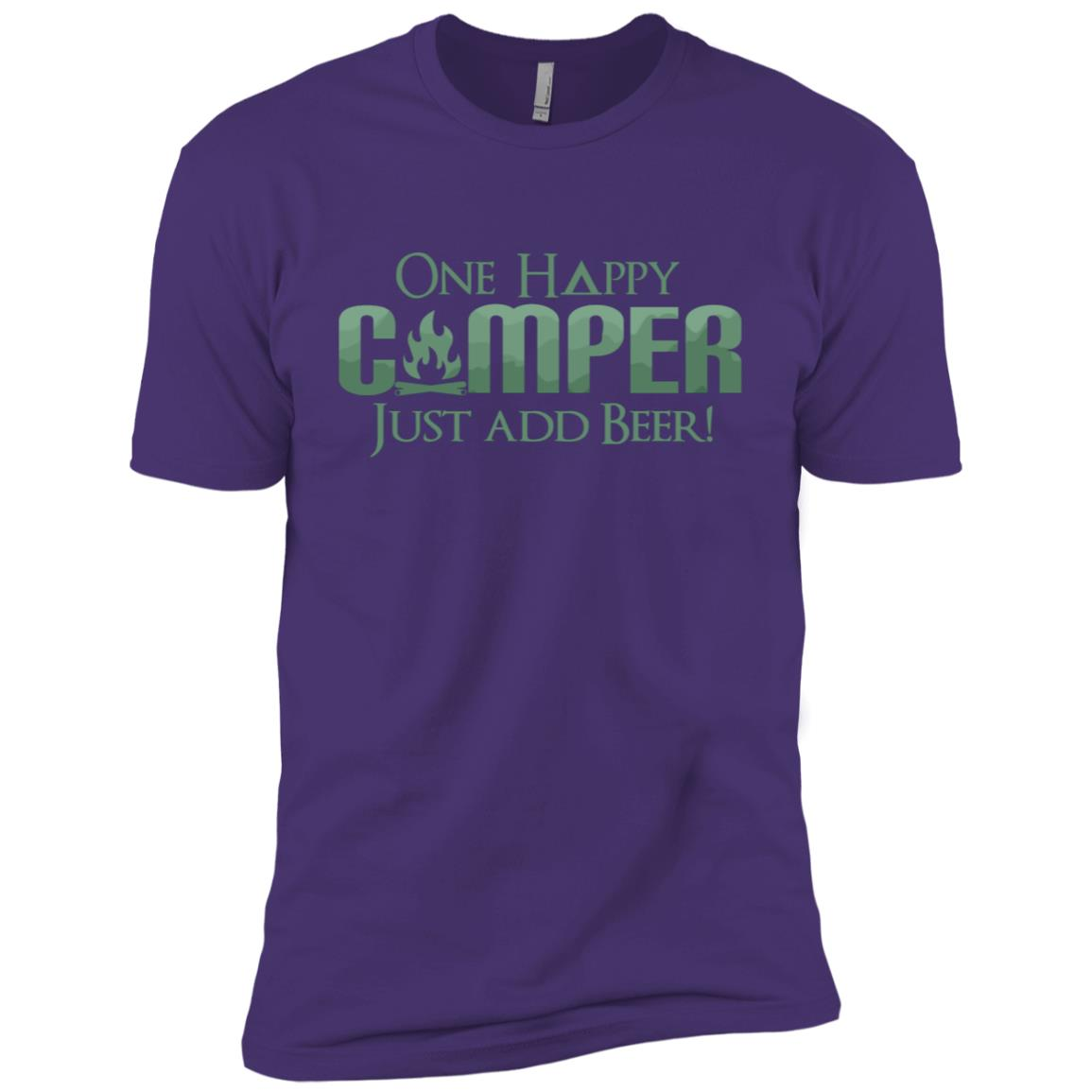 Funny One Happy Camper Beer Lover Camping -2 Men Short Sleeve T-Shirt