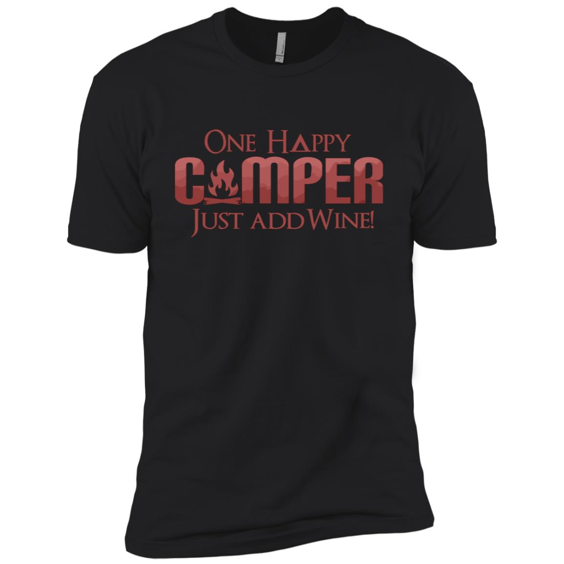 Funny One Happy Camper Wine Drinking Wine Lover Camping Men Short Sleeve T-Shirt