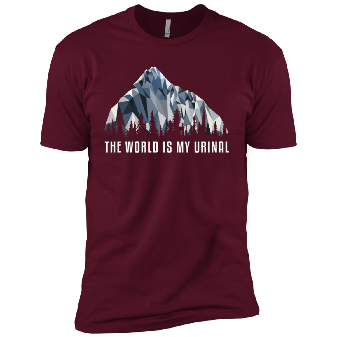 Funny Hiking The World Is Low Poly Gift Men Short Sleeve T-Shirt