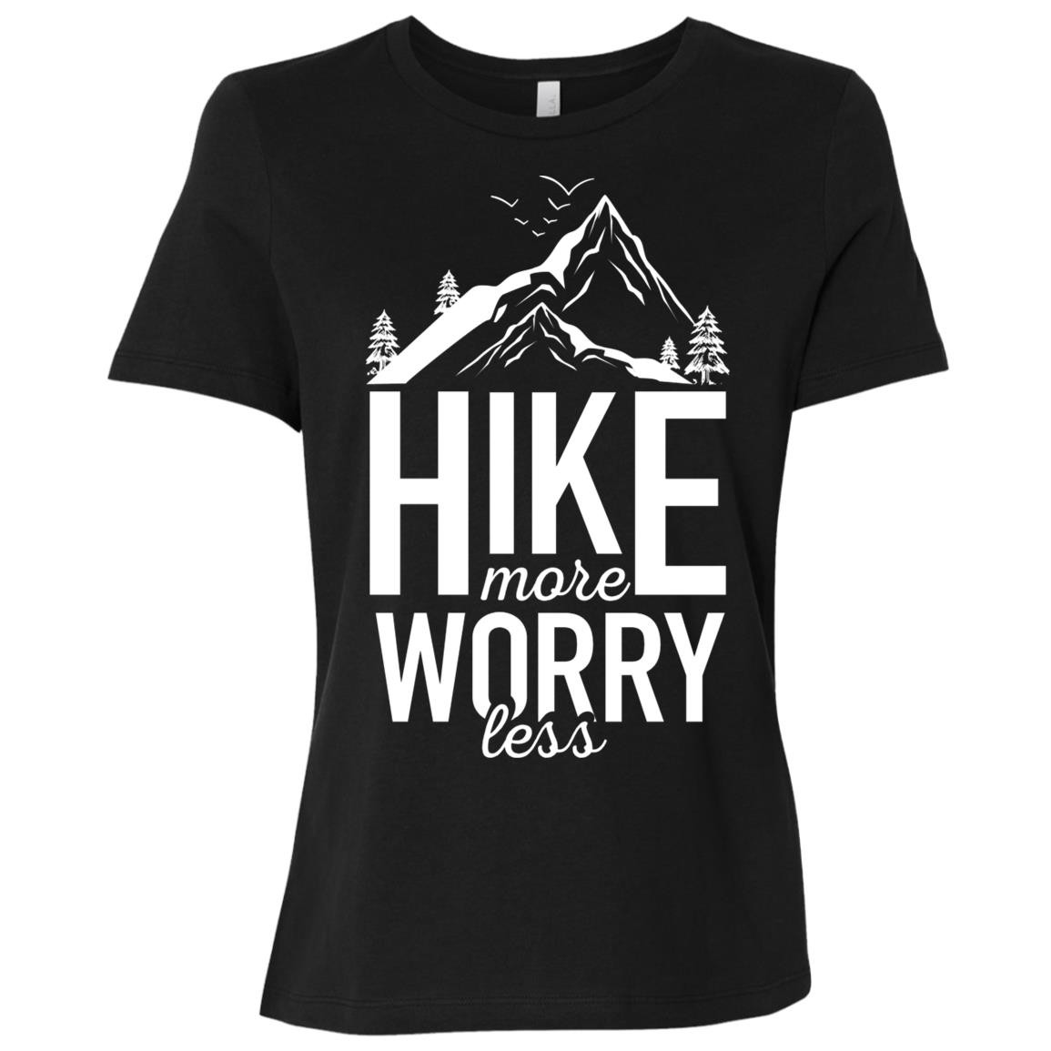 Hike More Worry Less Funny Hiking Novelty for Hikers Women Short Sleeve T-Shirt