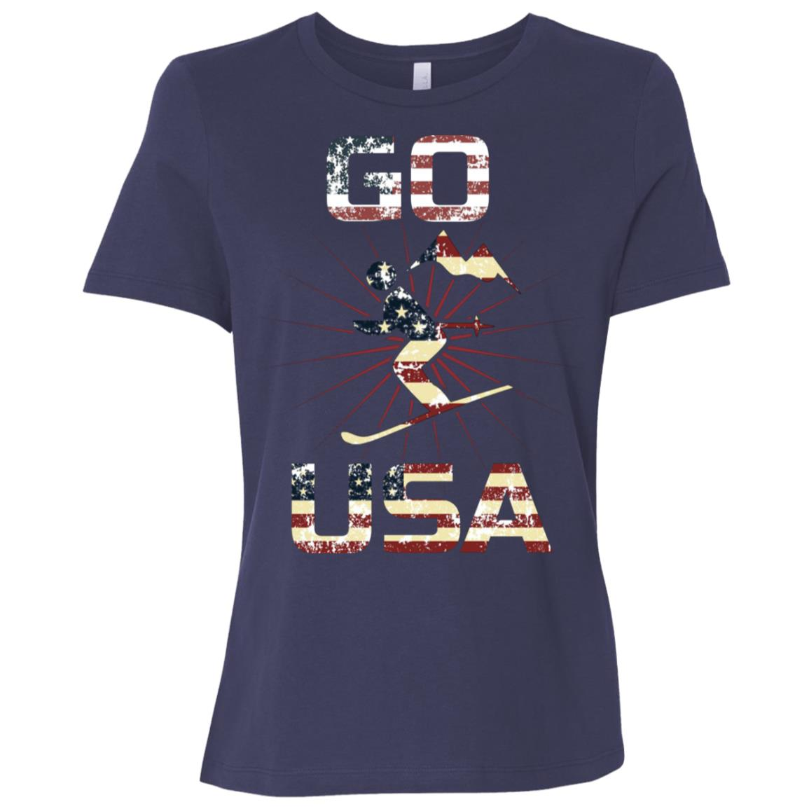 Go Usa Winter Sports Hiking New Christmas Gift Women Short Sleeve T-Shirt