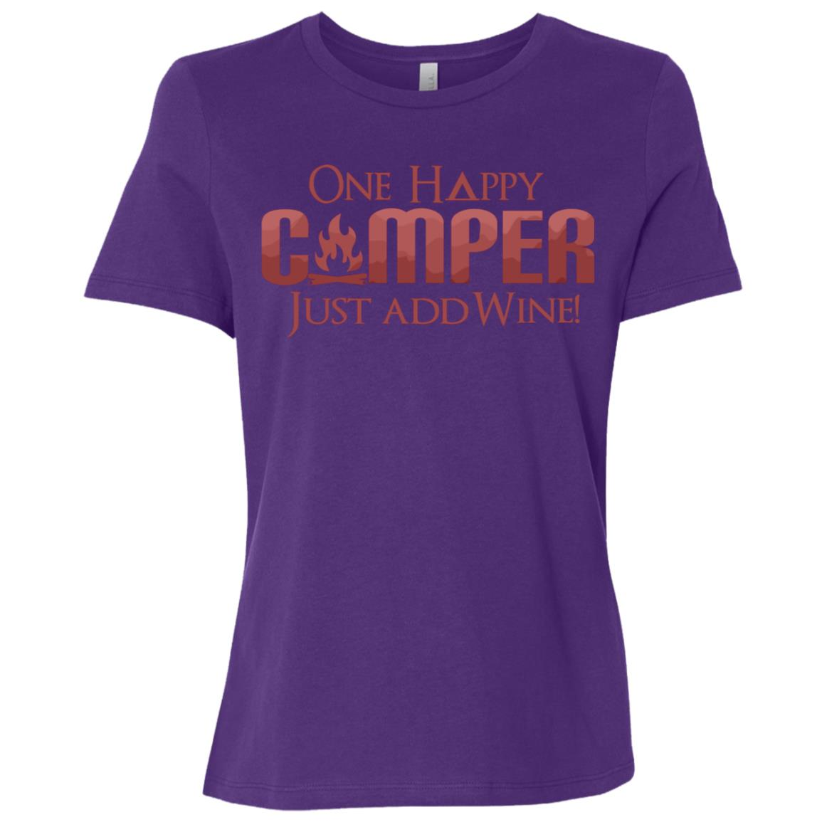 Funny One Happy Camper Wine Drinking Wine Lover Camping Women Short Sleeve T-Shirt