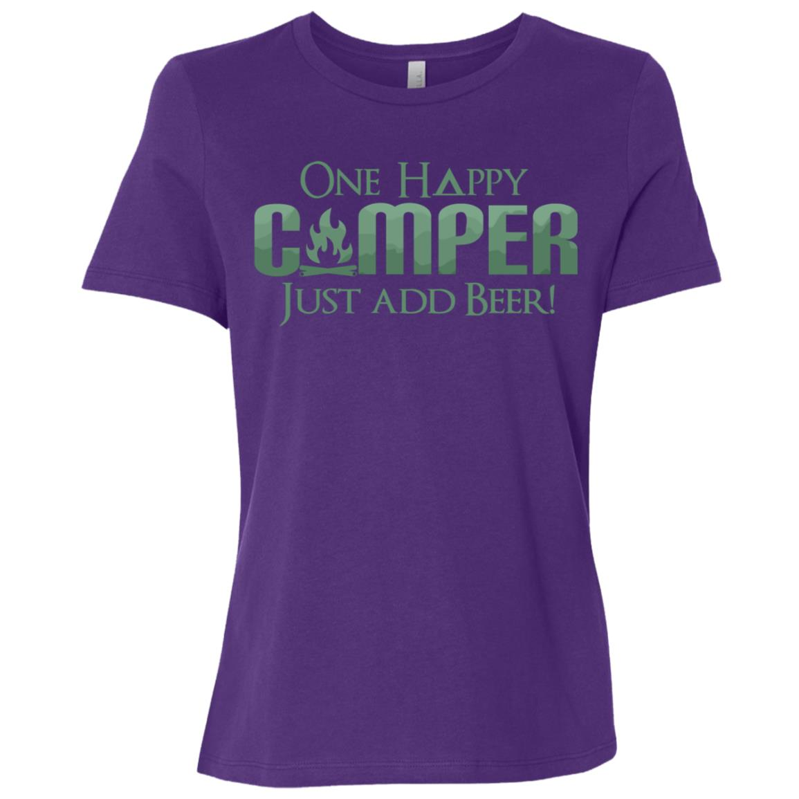 Funny One Happy Camper Beer Lover Camping -2 Women Short Sleeve T-Shirt